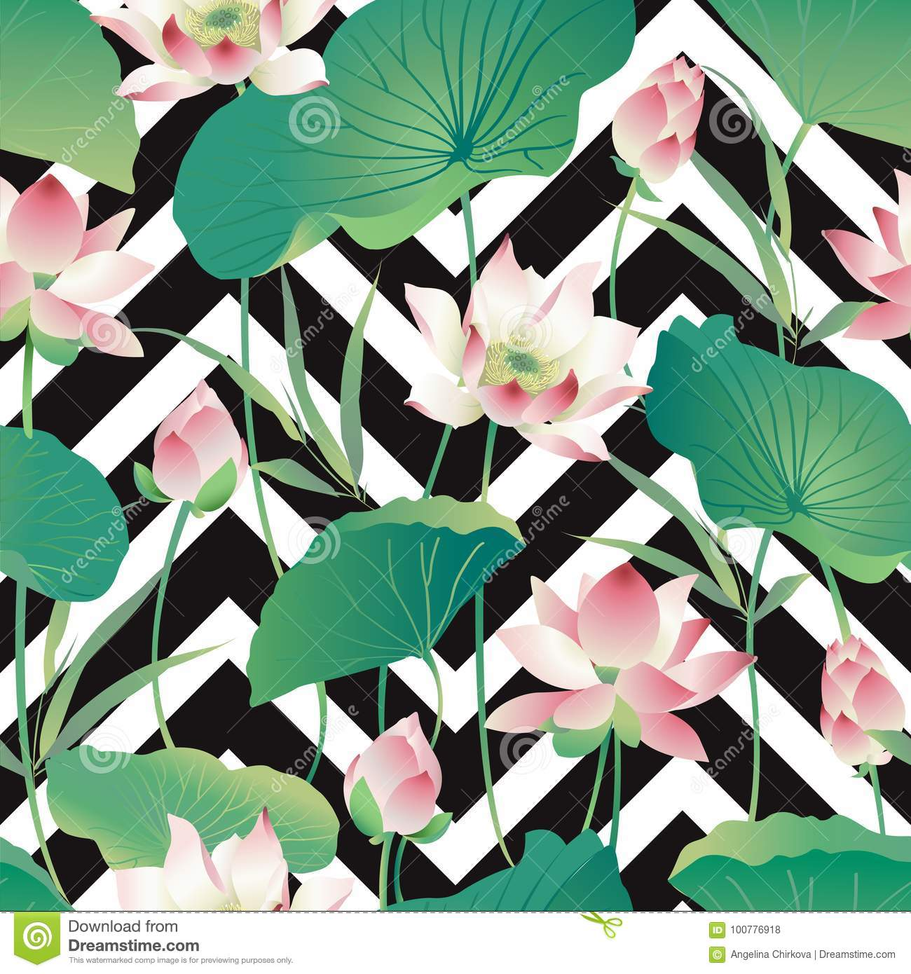 Vector Seamless Pattern Lotus Flowers And Leaves Pattern Stock