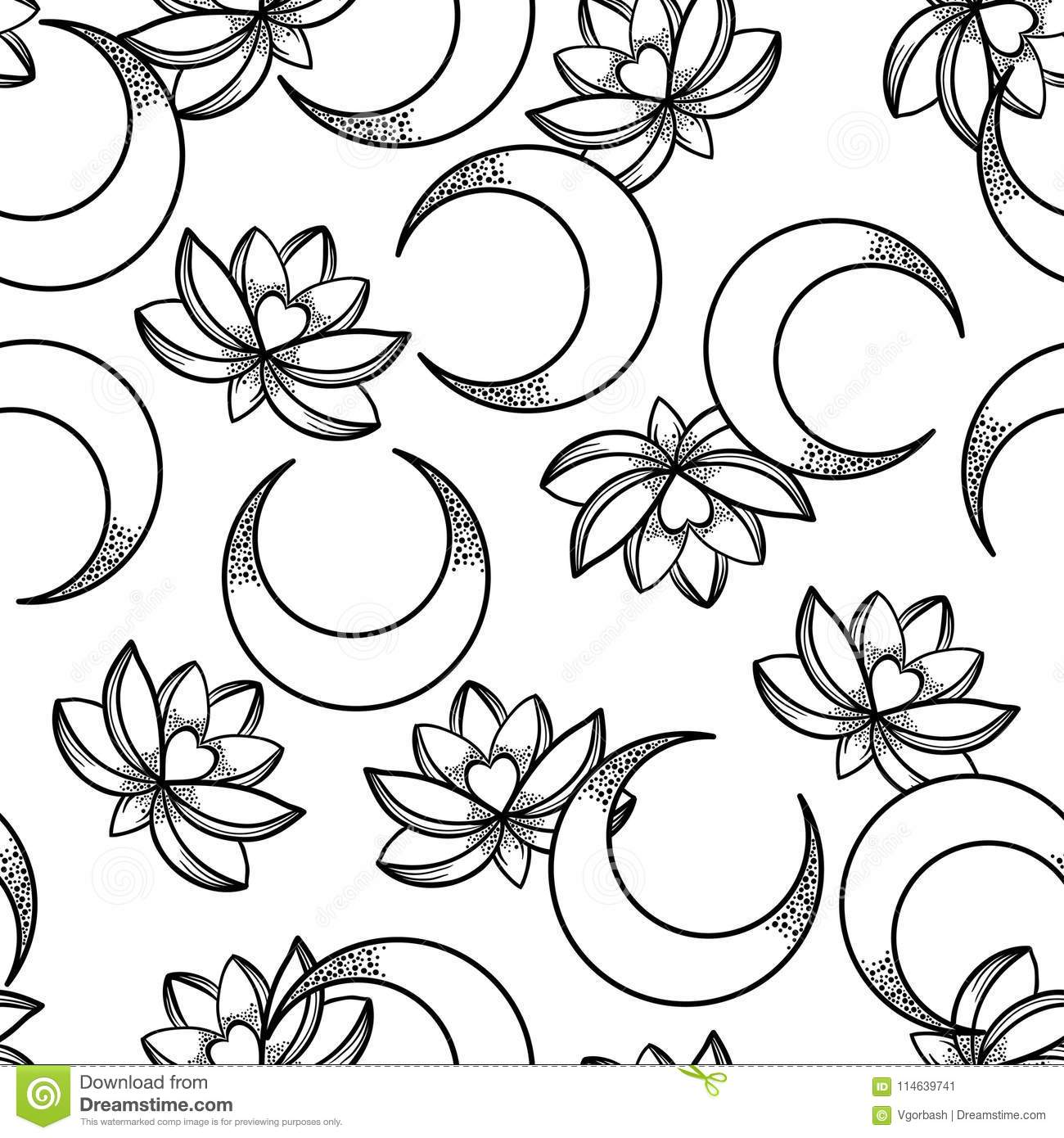 Vector Seamless Pattern Of Lotus Flowers And Moons Ethnic Art