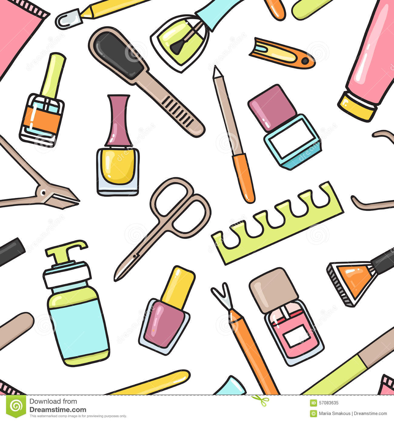 Nails Art Beauty Salon Background Stock Vector: Vector Seamless Pattern Of Manicure And Pedicure Doodle