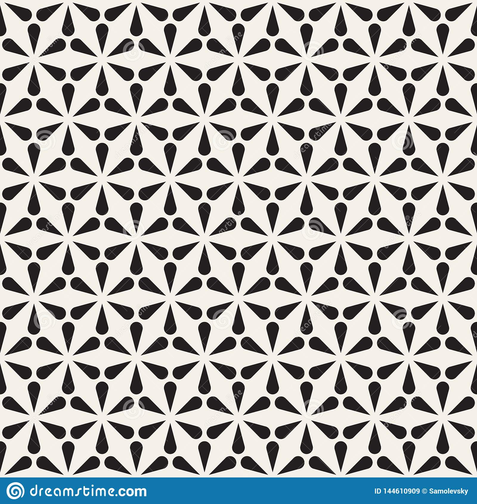 Vector seamless pattern. Modern abstract texture. Repeating geometric tiles from petal shapes.