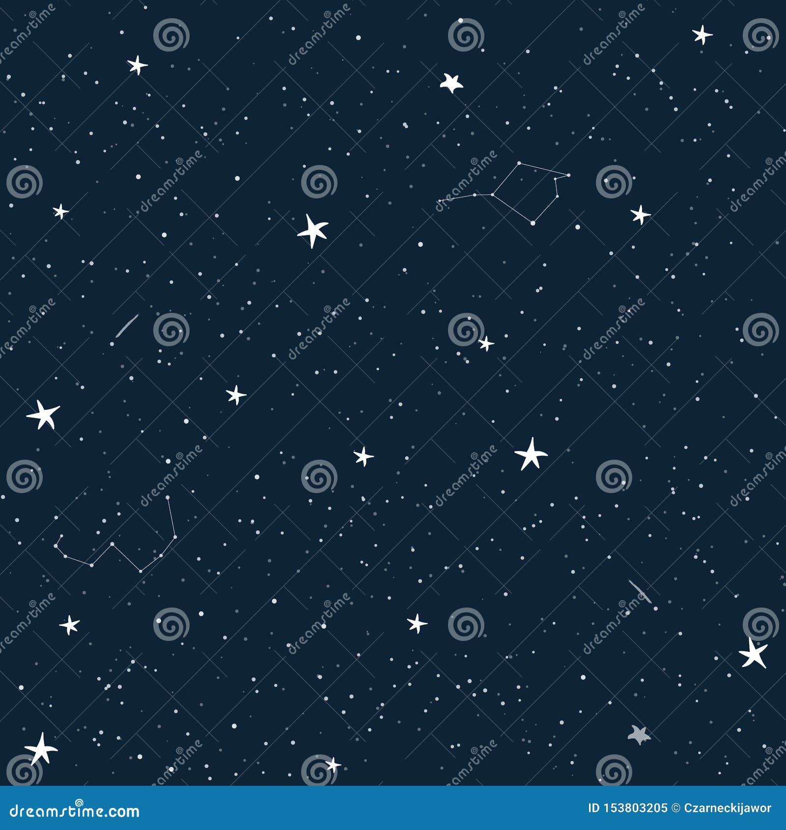 Cartoon Sky With Stars Seamless Vector Pattern Child Wallpaper