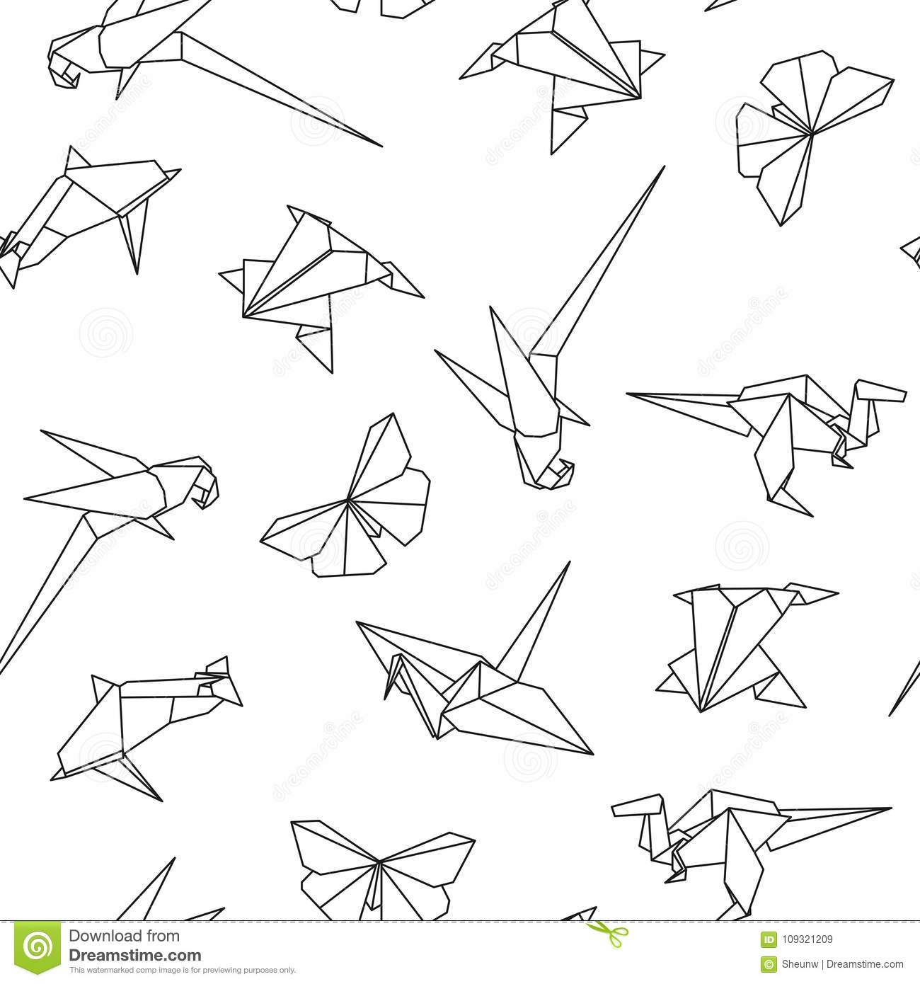 Vector Seamless Pattern With Origami Animals Abstract Creative