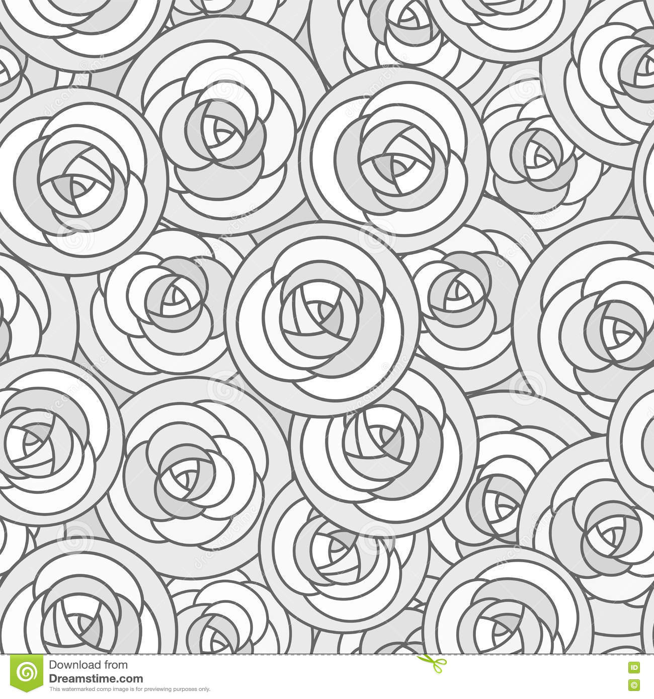 Vector Seamless Pattern With Outline Decorative Roses In