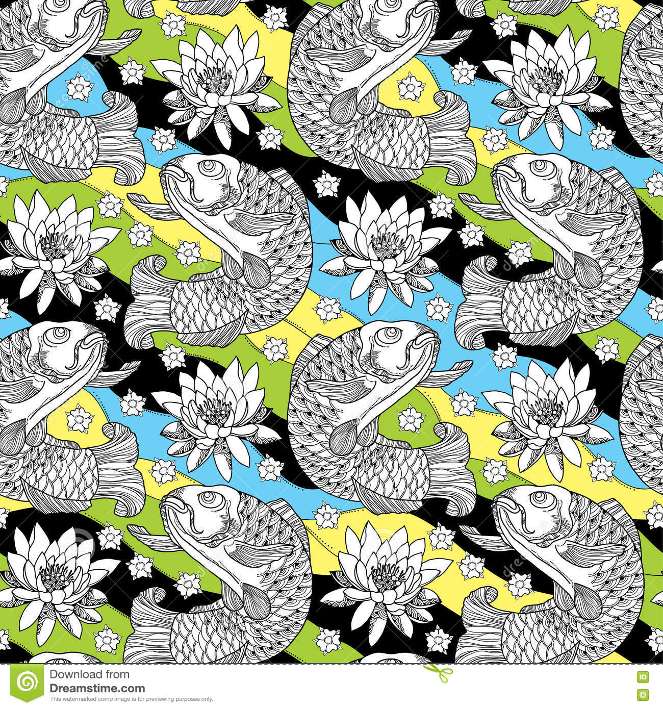 Vector seamless pattern with outline koi carp and lotus or water lily on the background in black yellow green and blue royalty free vector