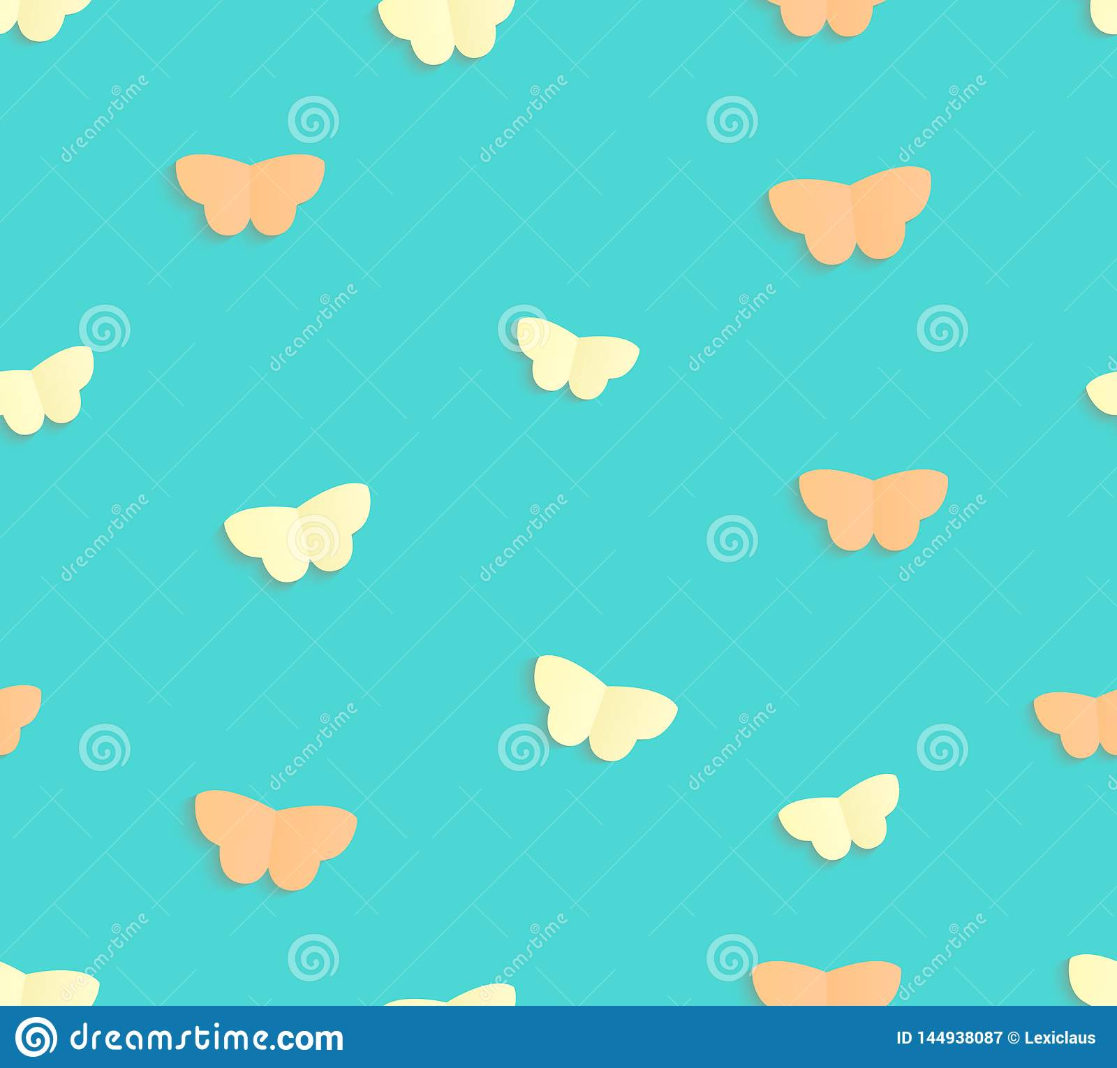 Vector seamless pattern of paper cut butterflies