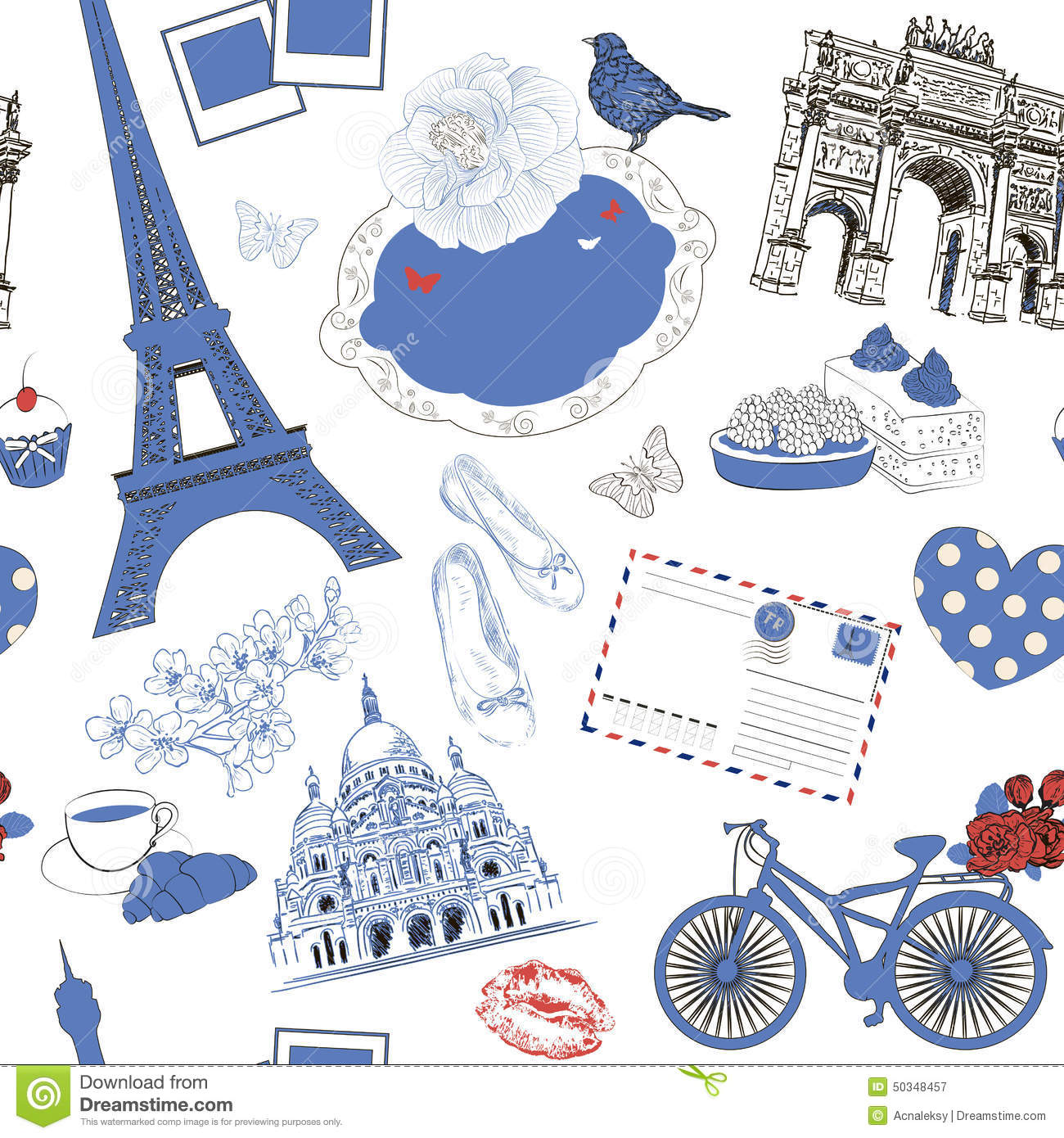 Vector seamless pattern with paris symbol stock vector vector seamless pattern with paris symbol royalty free vector biocorpaavc Images
