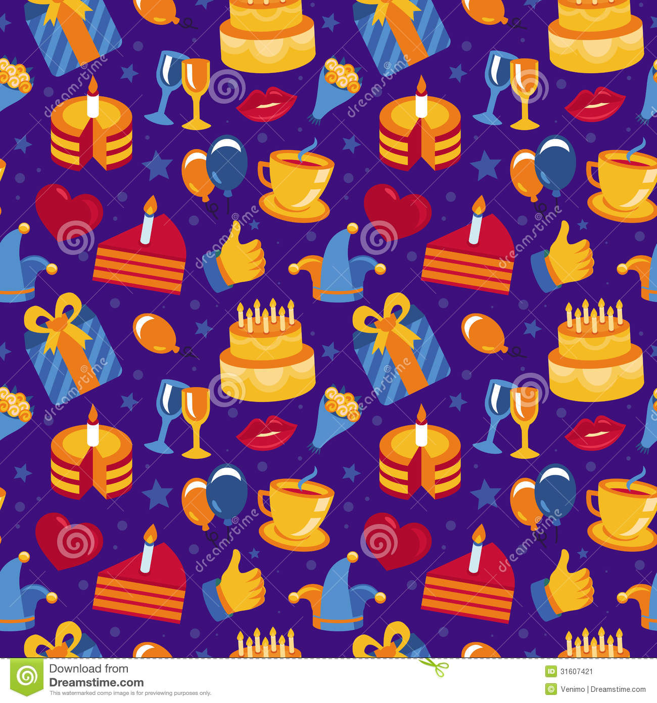 Vector Seamless Pattern With Party Icons And Signs Stock