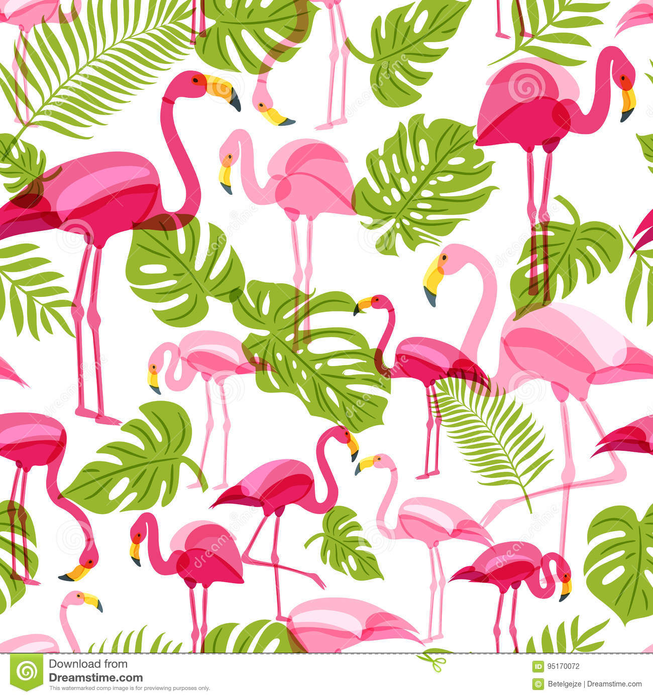a67f01f55 Vector seamless pattern with pink flamingo and green palm tree leaves. Summer  tropical background.