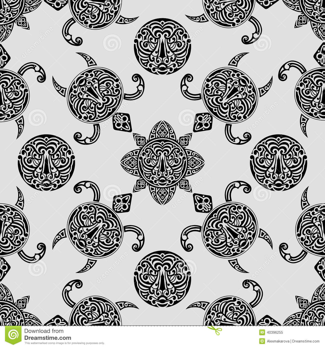 Vector Seamless Pattern With Polynesian Symbols Stock Vector