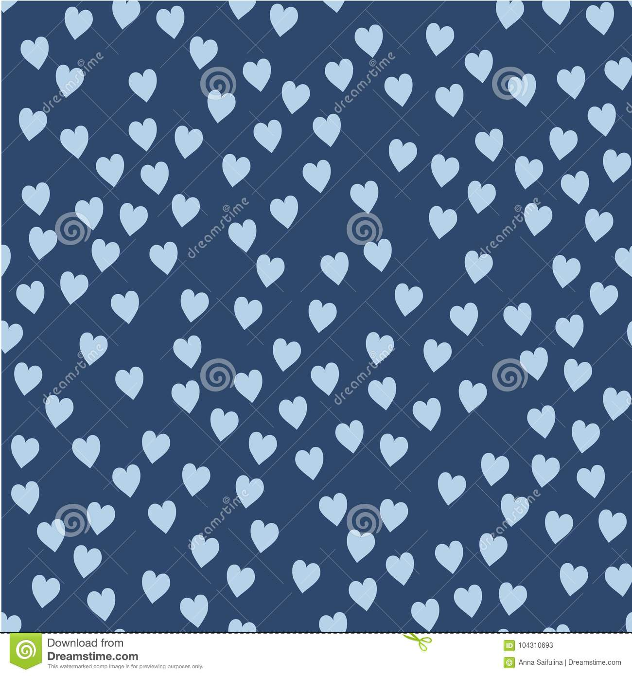 Vector seamless pattern. Randomly disposed hearts. Cute background for print on fabric, paper, scrapbooking