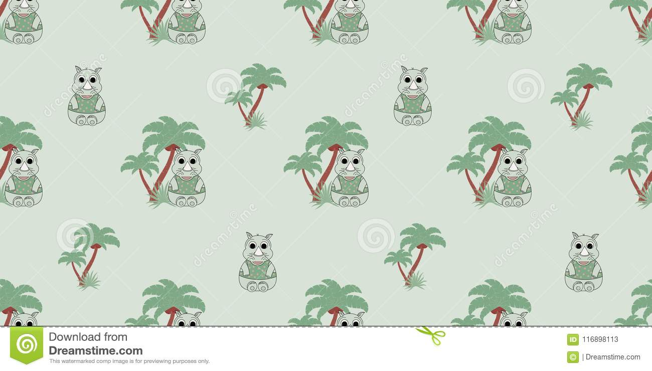 Vector Seamless Pattern With Rhino And Palm Trees