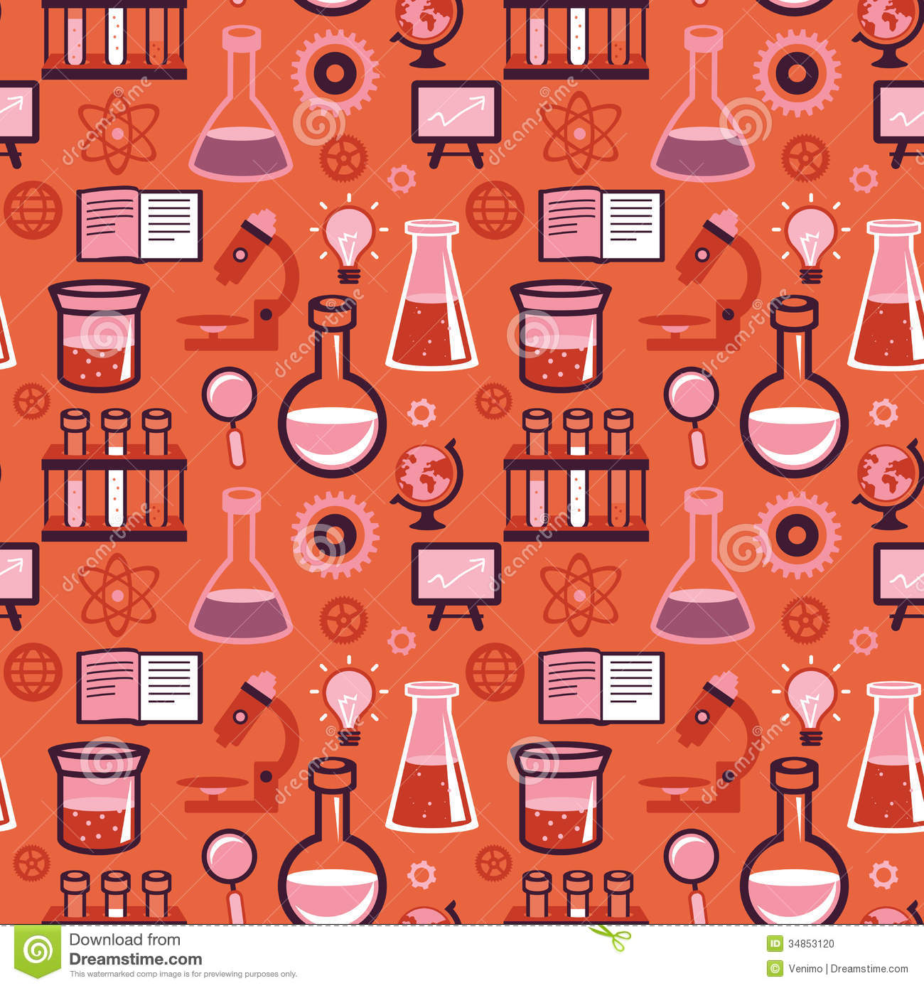 Red Book Cover Pattern : Vector seamless pattern science and education stock