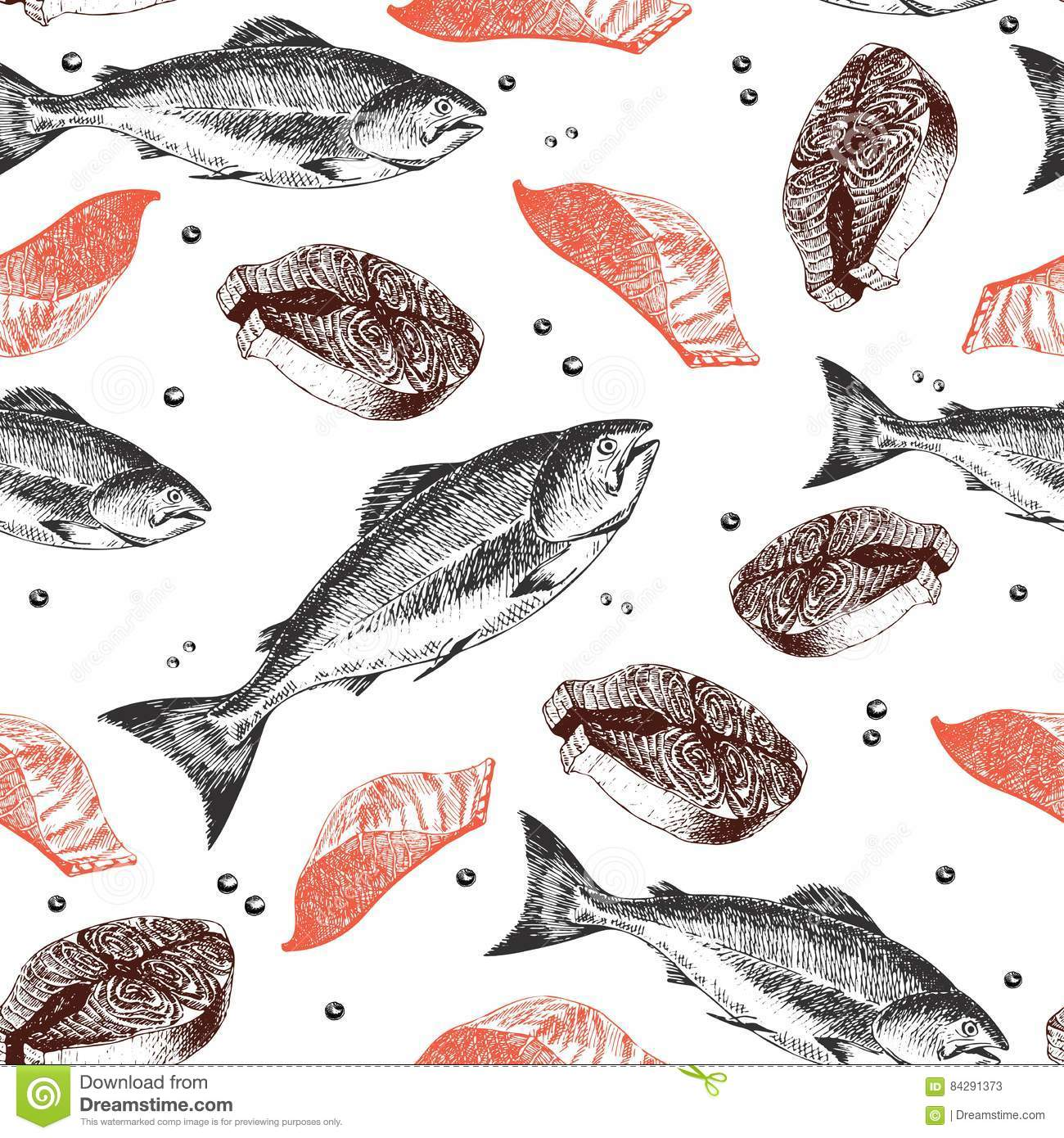 Vector seamless pattern of seafood. Salmon fish, fillet and slice. Hand drawn engraved icons.