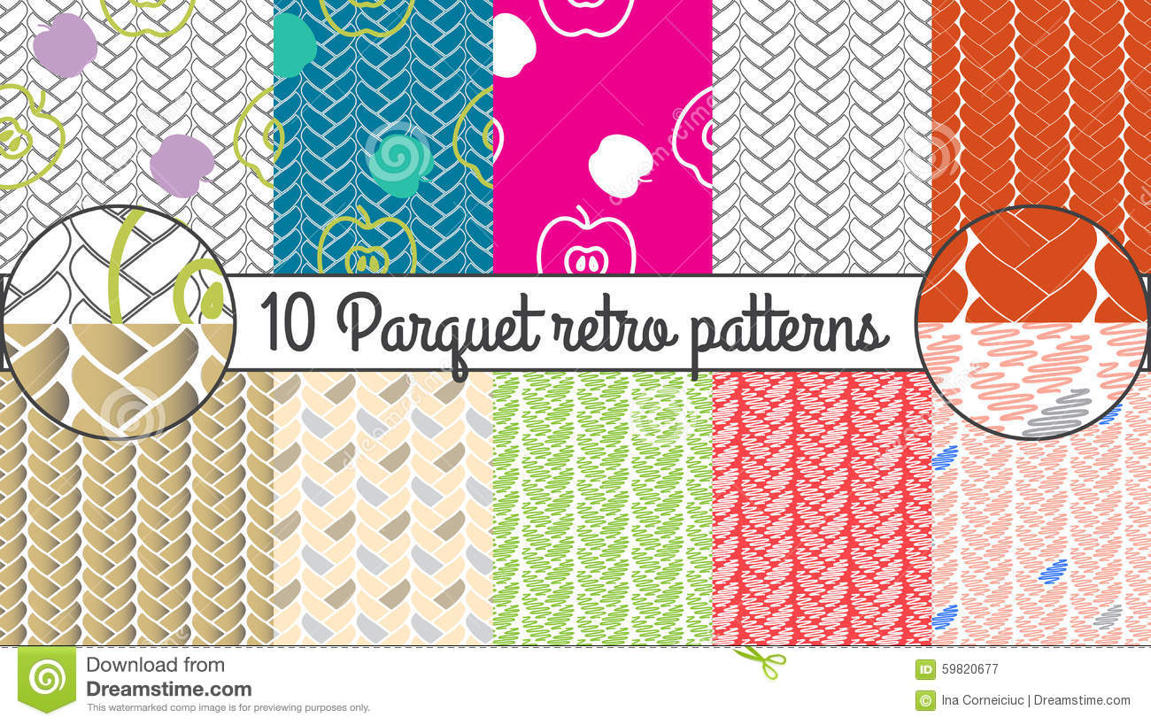 Vector seamless pattern set parquet retro background for Kitchen wallpaper patterns