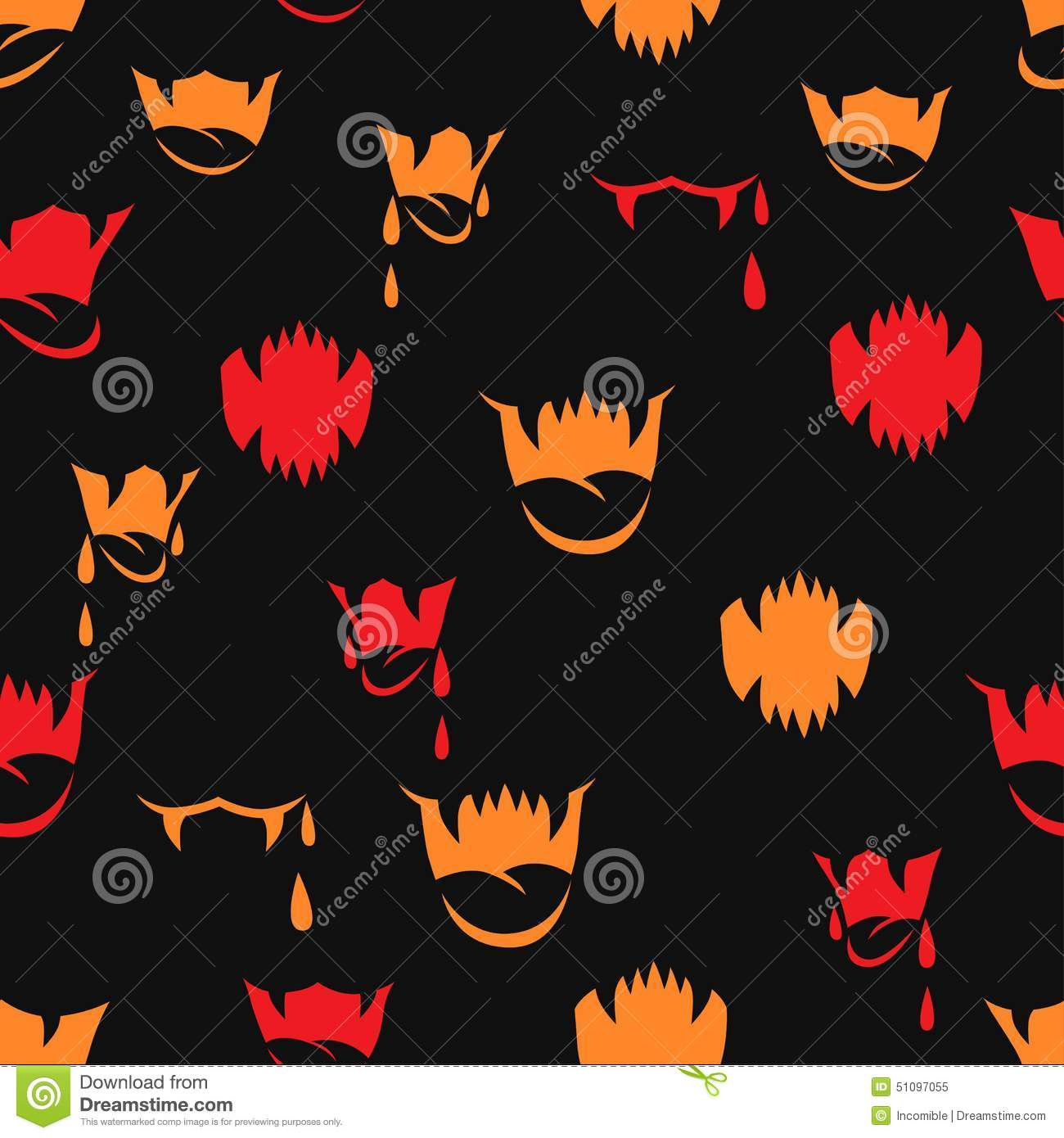 Vector Seamless Pattern With Sharp Teeth Stock Vector