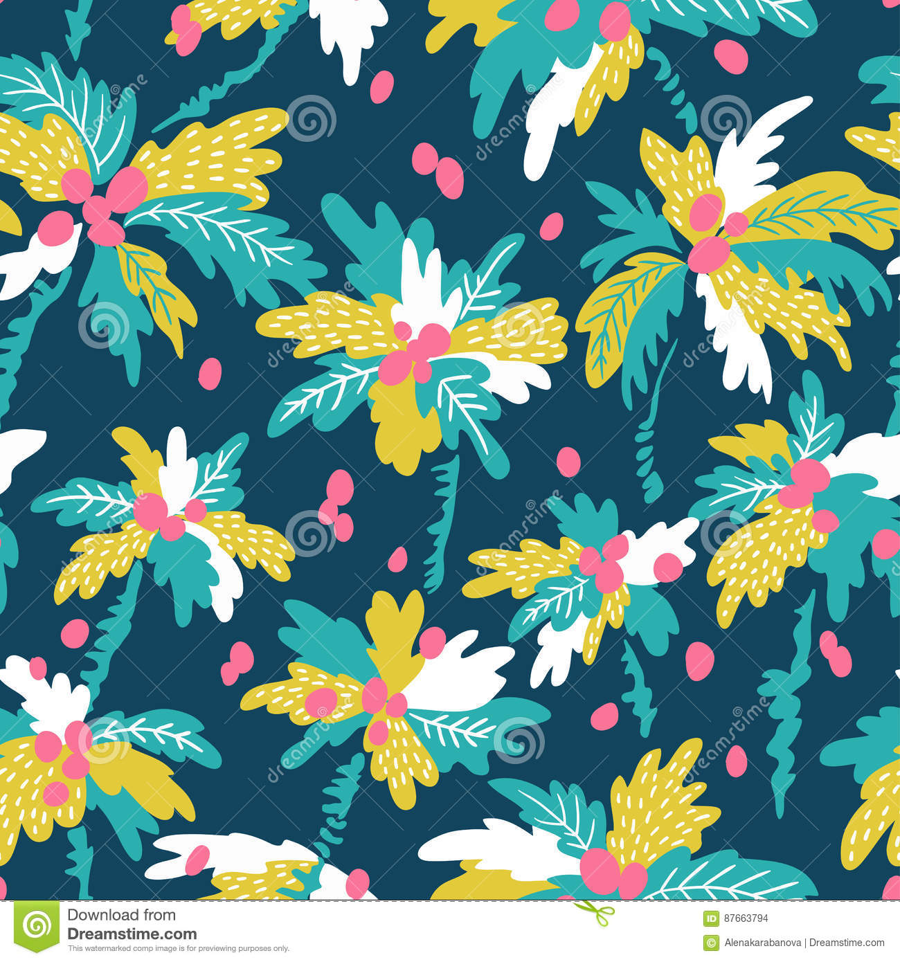 Vector seamless pattern with silhouettes tropical coconut palm trees. Summer repeating background.