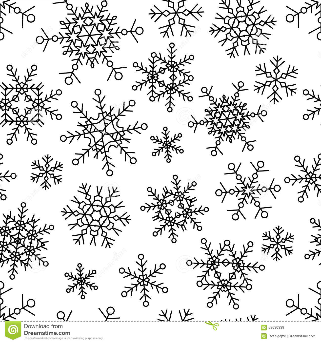 Vector Seamless Pattern With Simple Linear Snowflakes ...