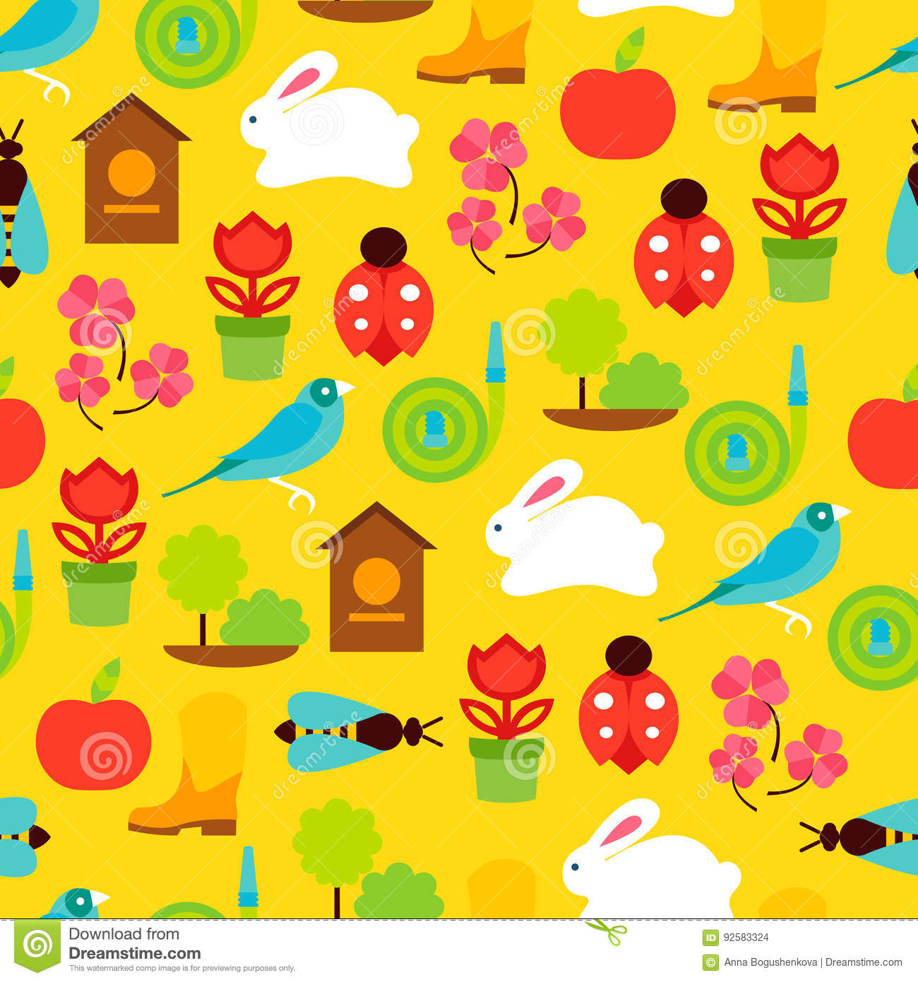 Vector seamless pattern of spring symbols and garden tools stock vector seamless pattern of color spring symbols and garden tools biocorpaavc