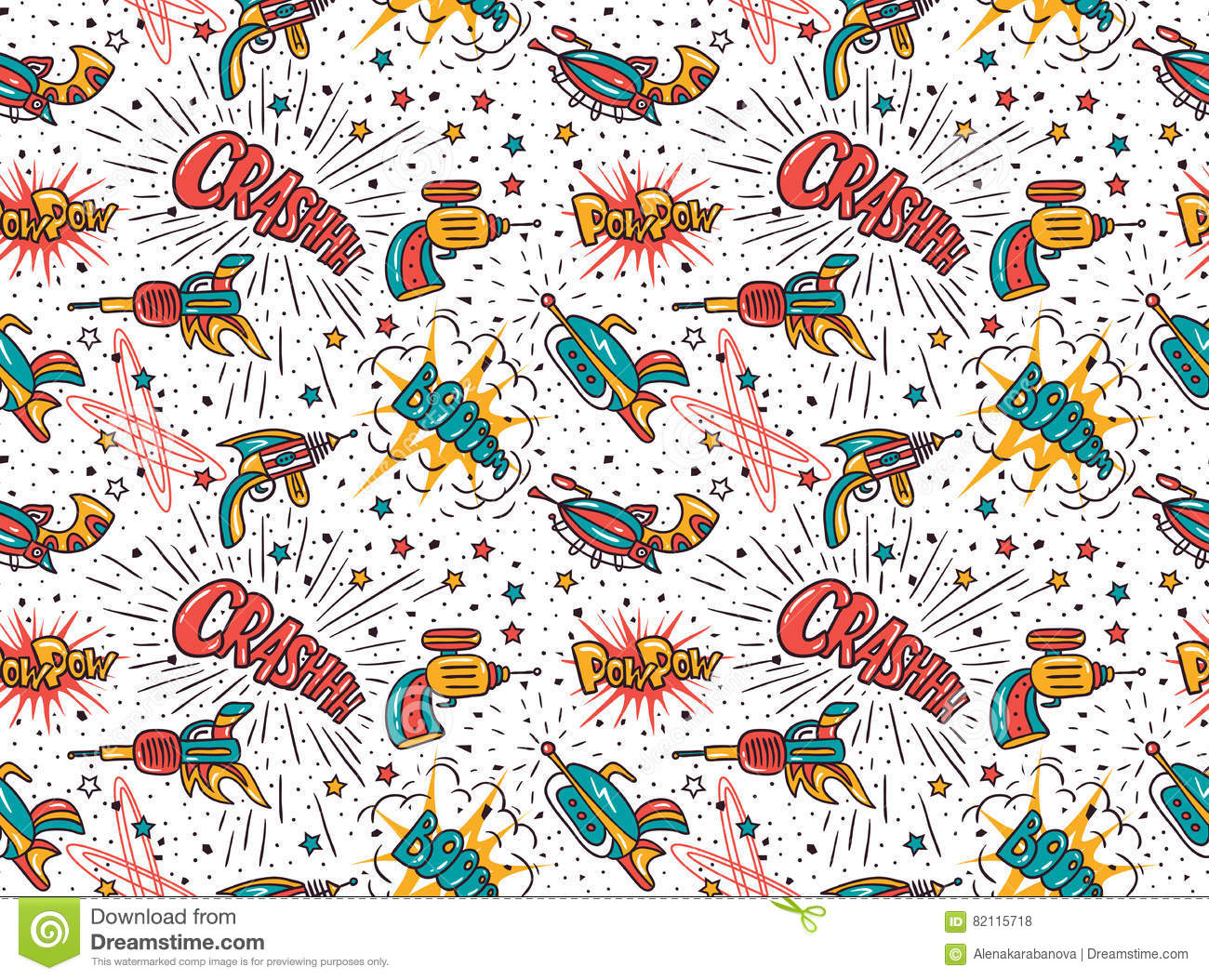 Vector Seamless Pattern Star Wars With Futuristic Weapon And Cartoon Lettering Crash Boom Pow Pow Stock Vector Illustration Of Humor Line 82115718