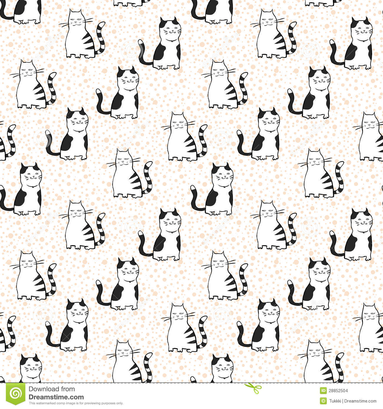 vector seamless pattern with striped cats stock images