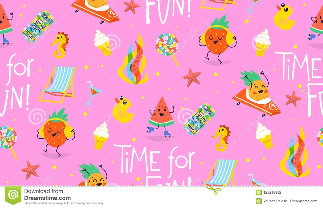Adreano colorful summer pattern with cute characters having fun in