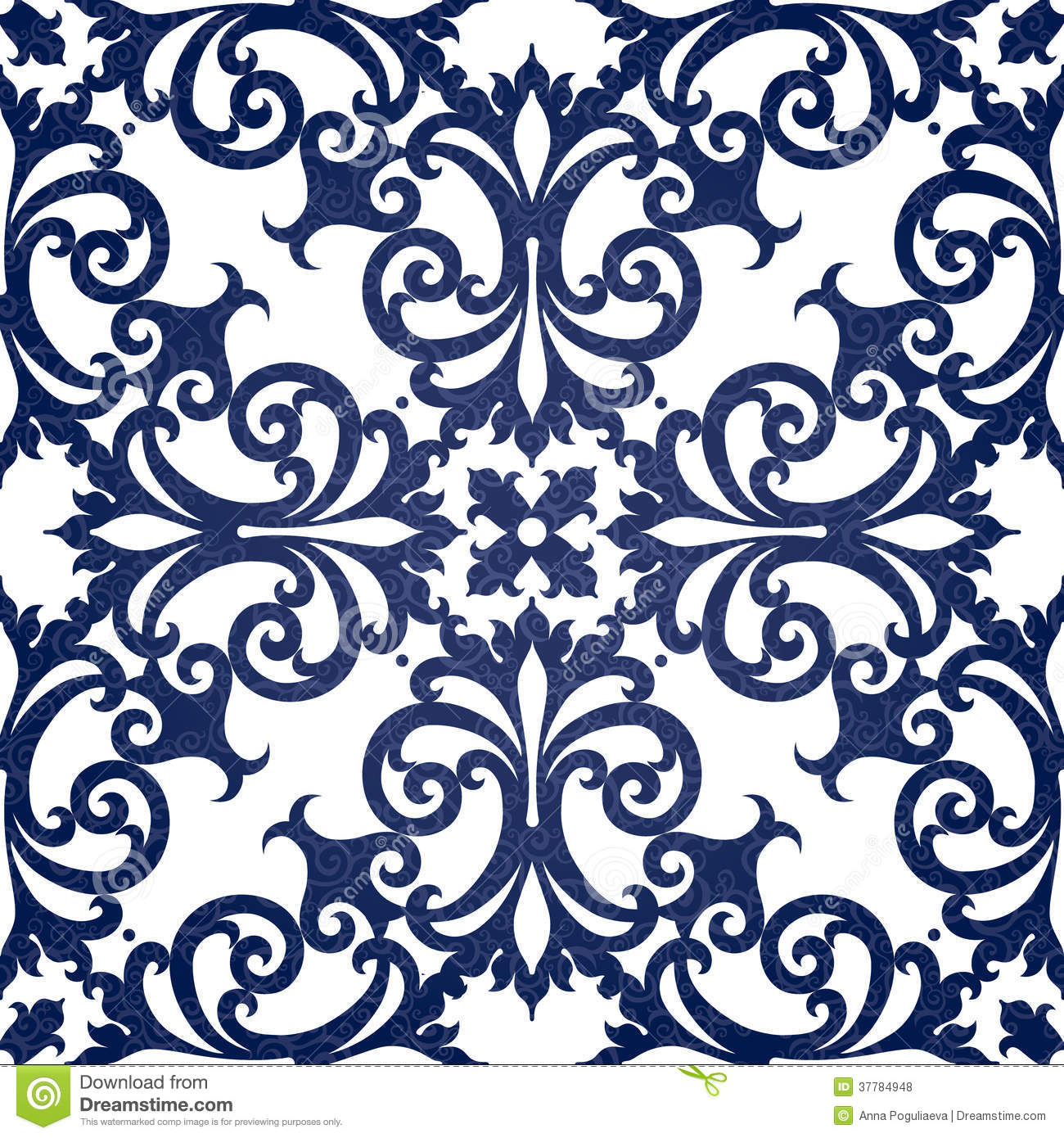 Vector Seamless Pattern With Swirls And Floral Motifs In