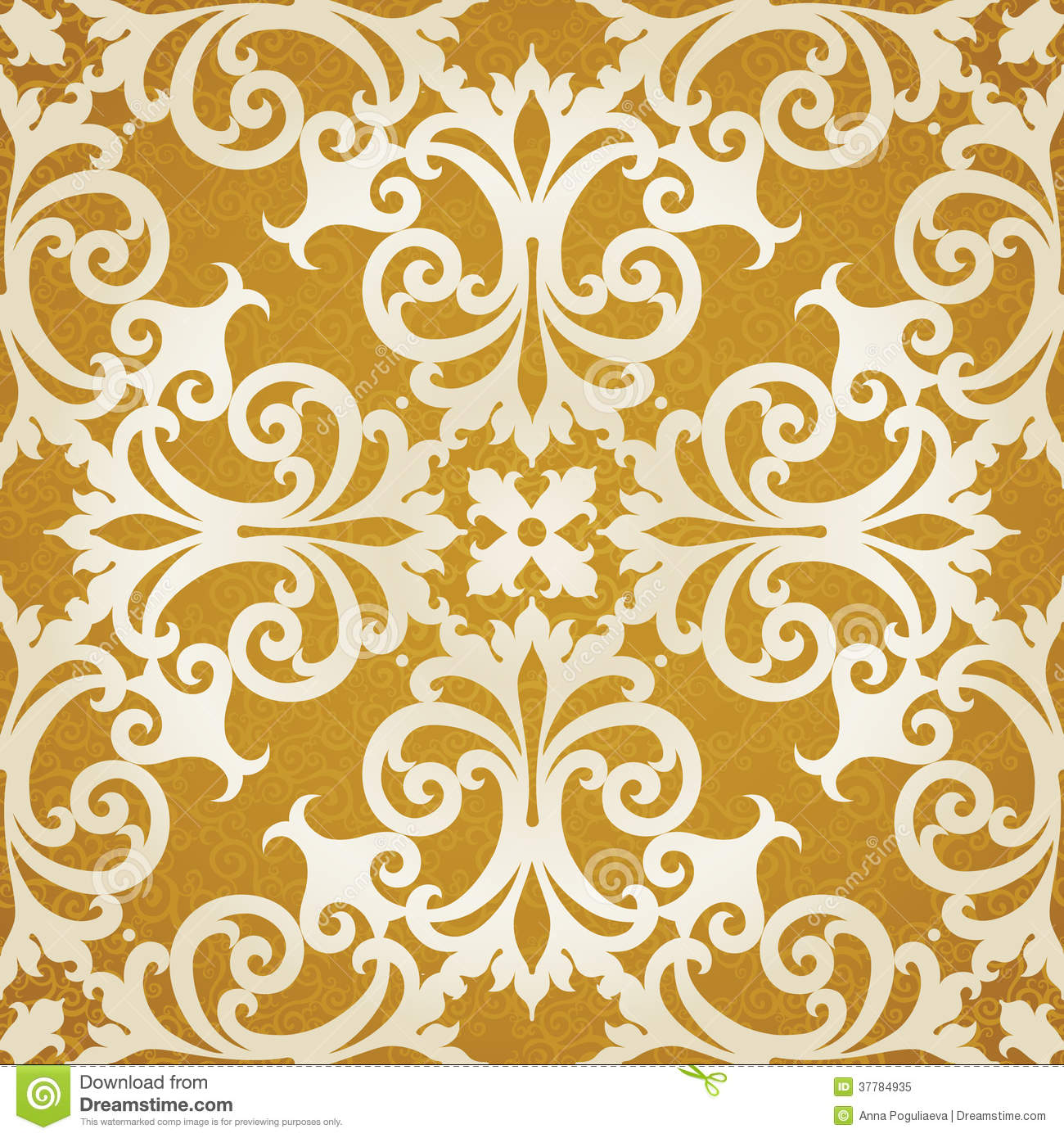 vector seamless pattern with swirls and floral motifs in retro style royalty free stock photo. Black Bedroom Furniture Sets. Home Design Ideas