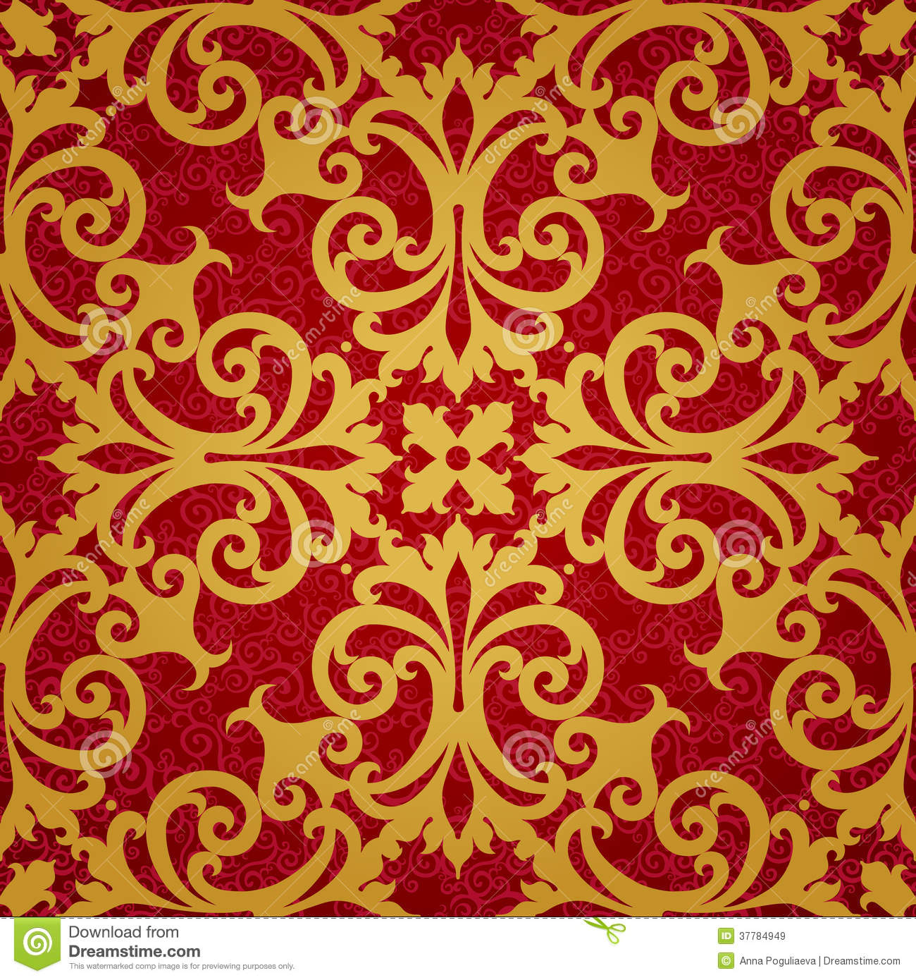 Vector Seamless Pattern With Swirls And Floral Motifs In Retro Style. Royalty Free Stock Images ...
