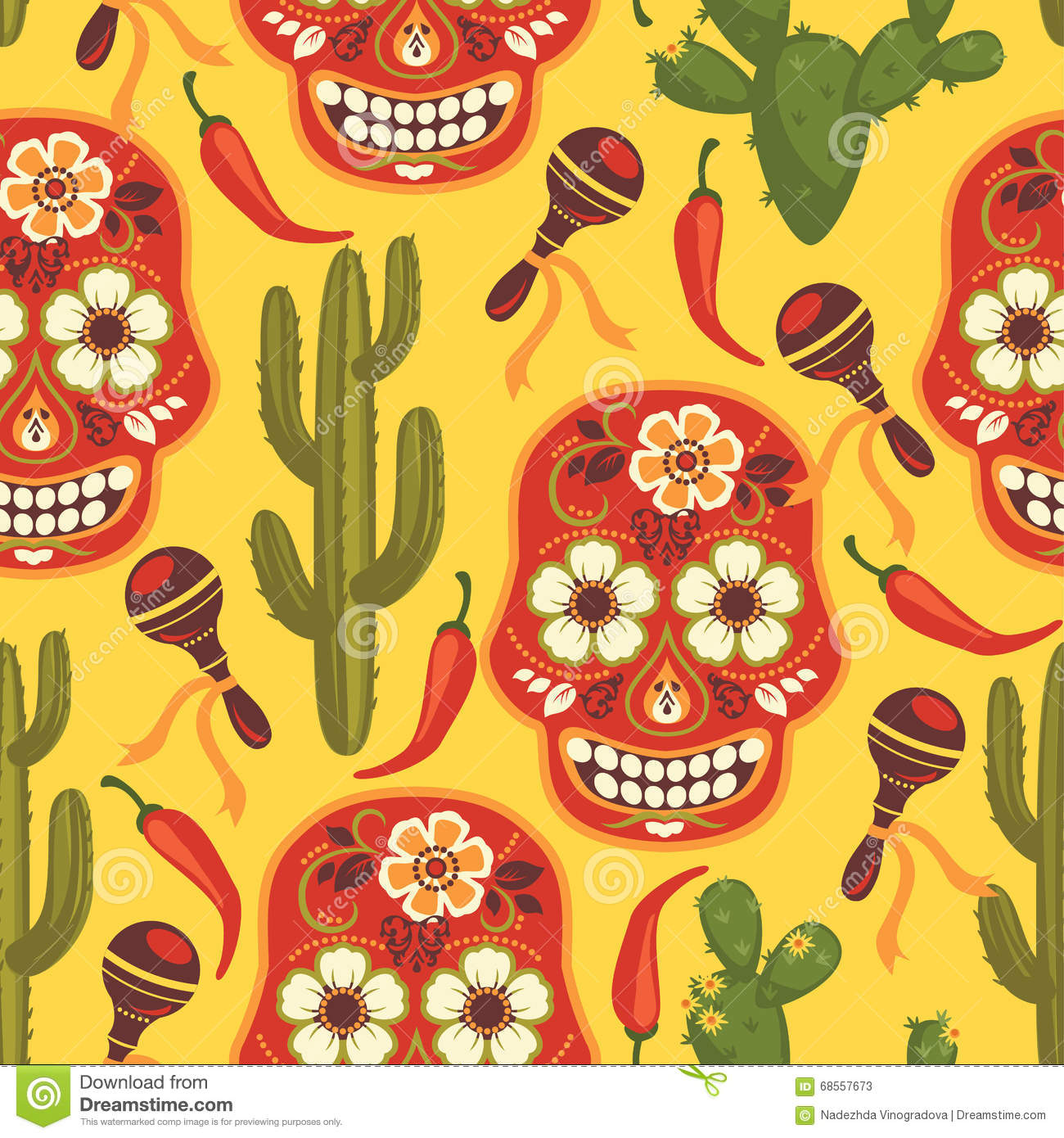 Vector Seamless Pattern With Traditional Mexican Symbols ...