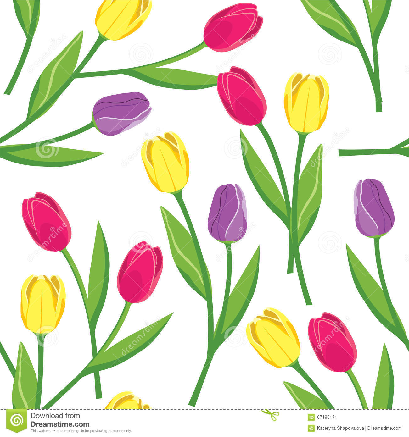 Realistic Tulips Seamless Pattern Royalty-Free Stock Image ...