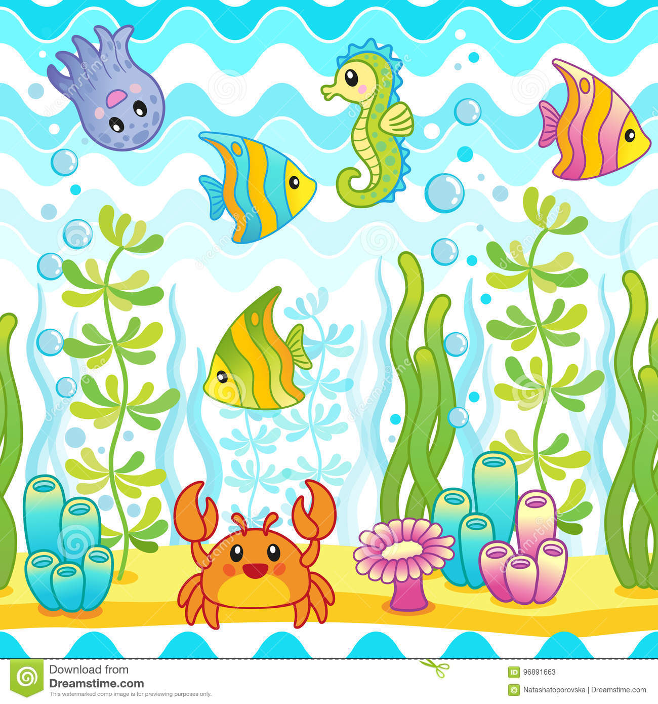 vector seamless pattern with underwater design and funny