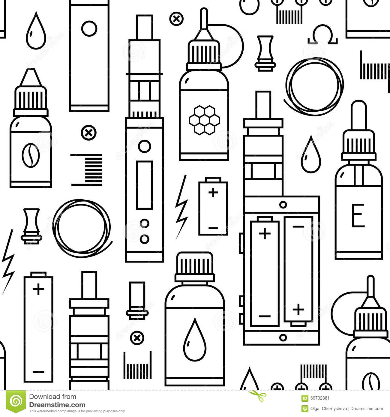 vector seamless pattern of vape and accessories stock