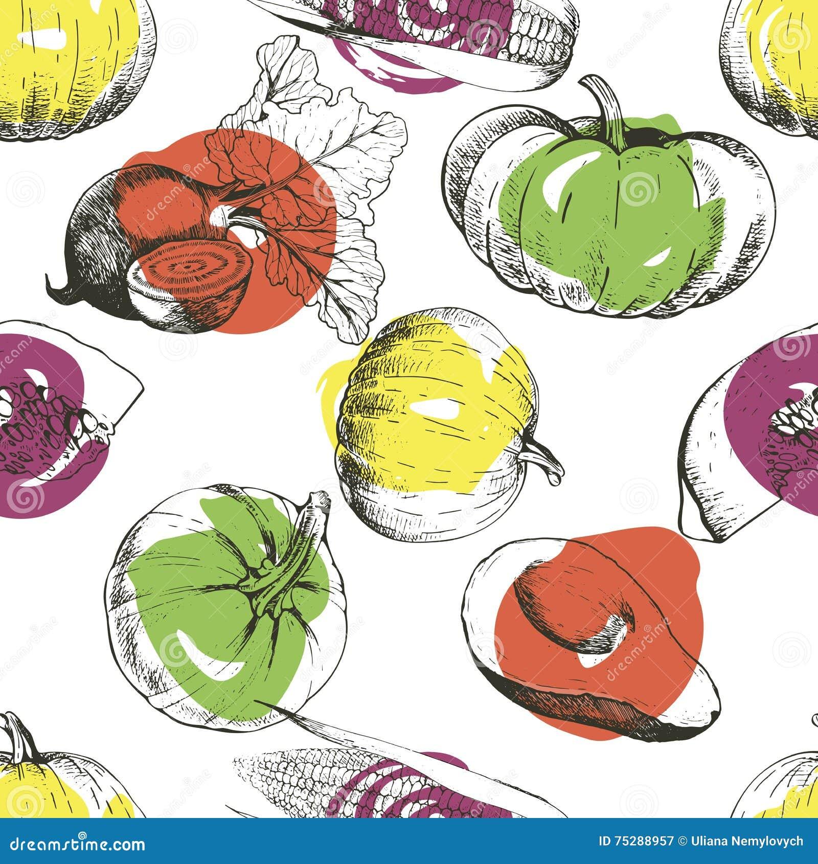 Vector seamless pattern of vegetables. Pumpkin, corn, beetroot, avocado. Hand drawn engraved vintage illustration.