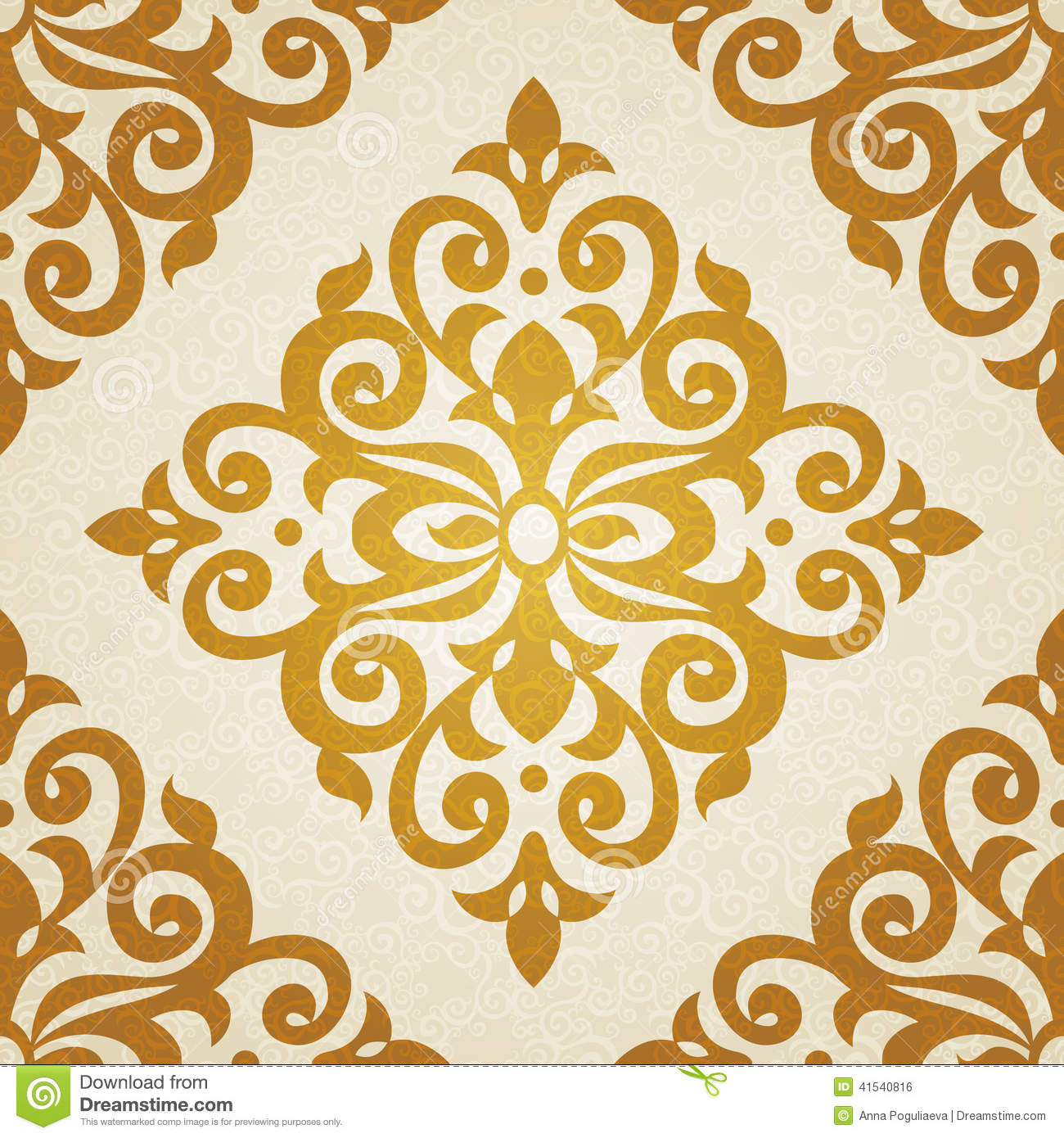 Vector Seamless Pattern In Victorian Style Stock Vector