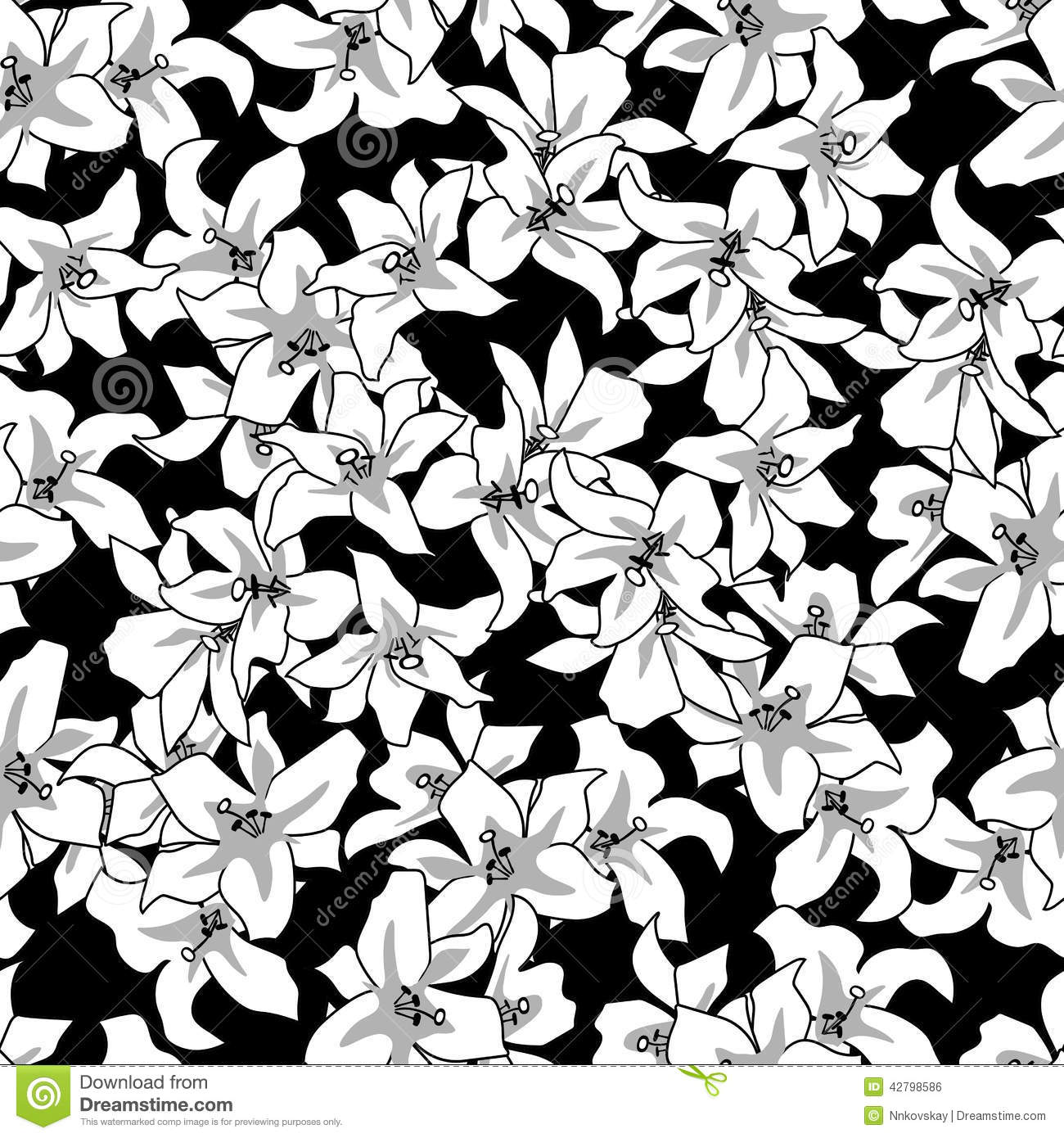 Floral Seamless Black White Pattern Stock Vector
