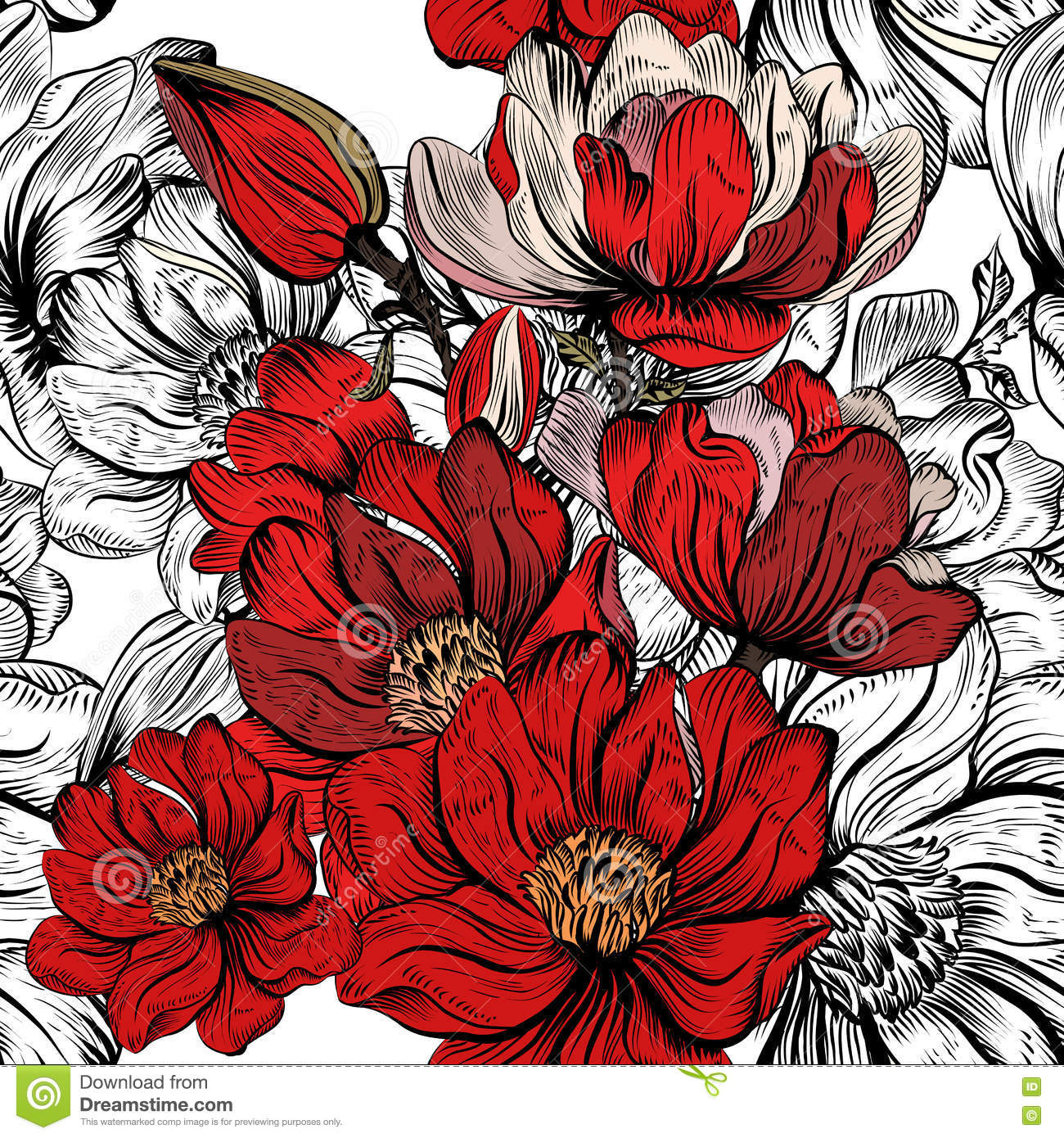 Vector Seamless Pattern For Wallpaper Design With Flowers Stock ...