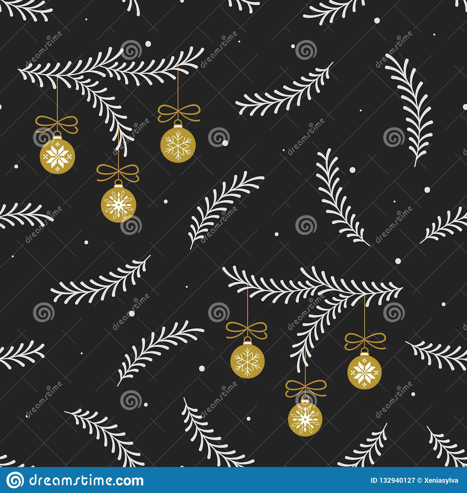 Vector seamless pattern with white сhristmas tree branches and gold christmas balls on black background.