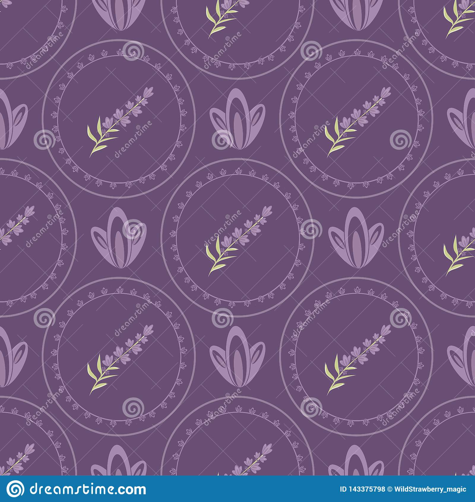 Vector Seamless patterns Lavender in the style of Provence