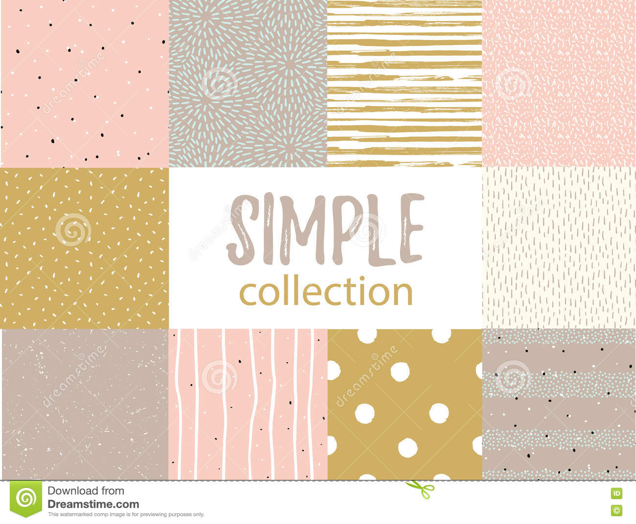 Vector seamless patterns with universal simple textures. Set for fabric, gift wrap and wallpaper.