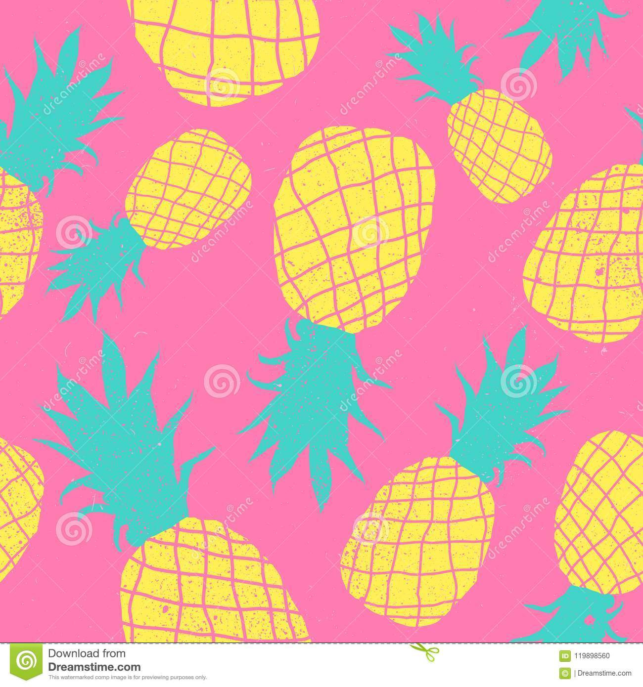 Vector Seamless Pineapple Fruit Crazy Colors Pattern Very