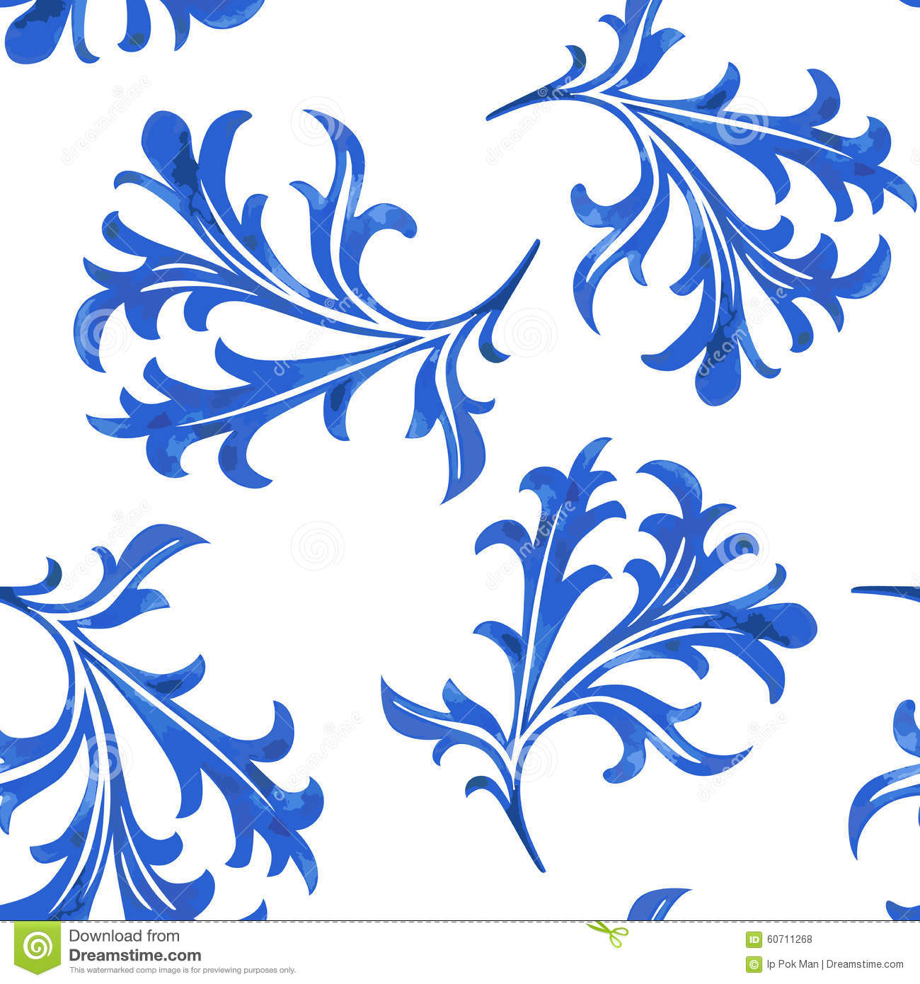 Vector Seamless Porcelain Pattern In White Background