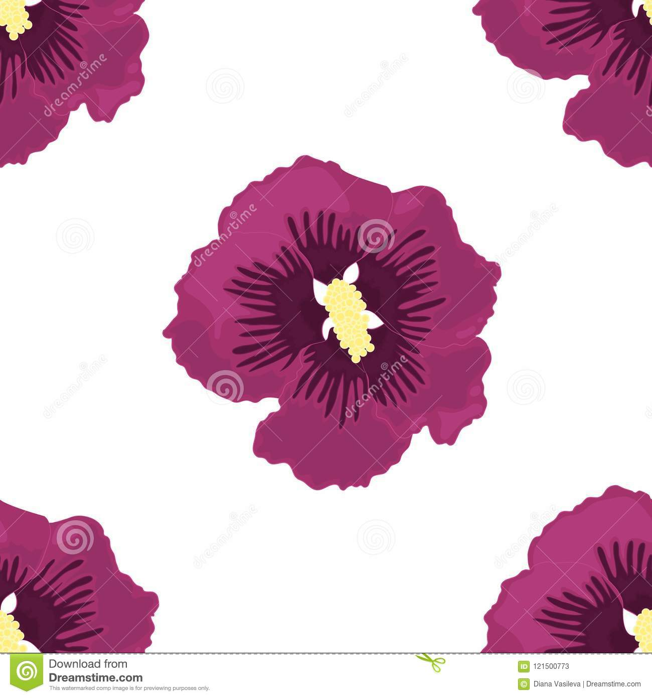 Vector Seamless Of Purple Hibiscus Stock Vector Illustration Of