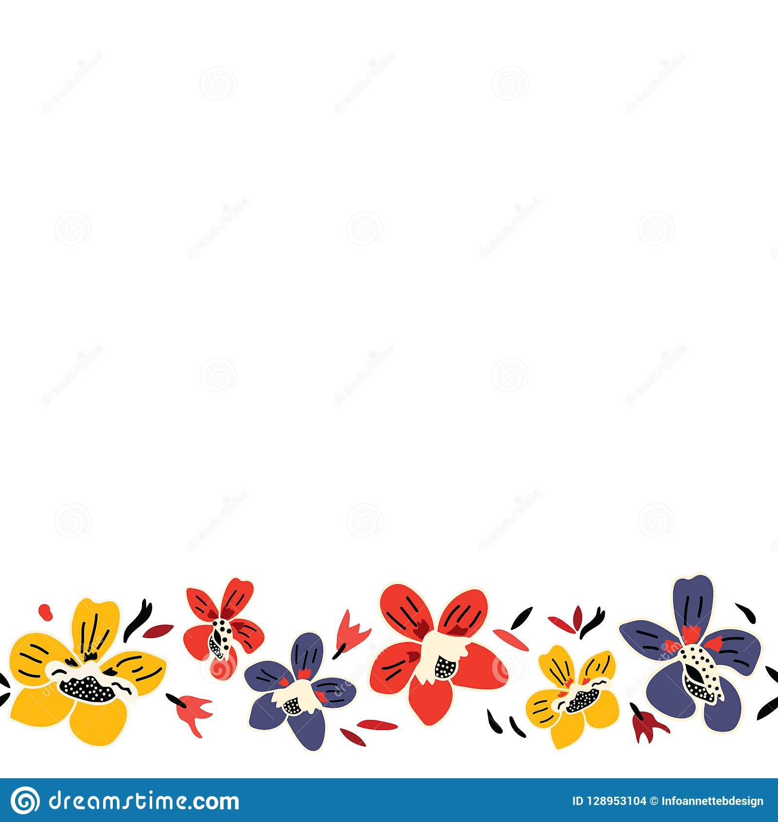 Vector Seamless Repeat Colorful Floral Border Pattern With Blue