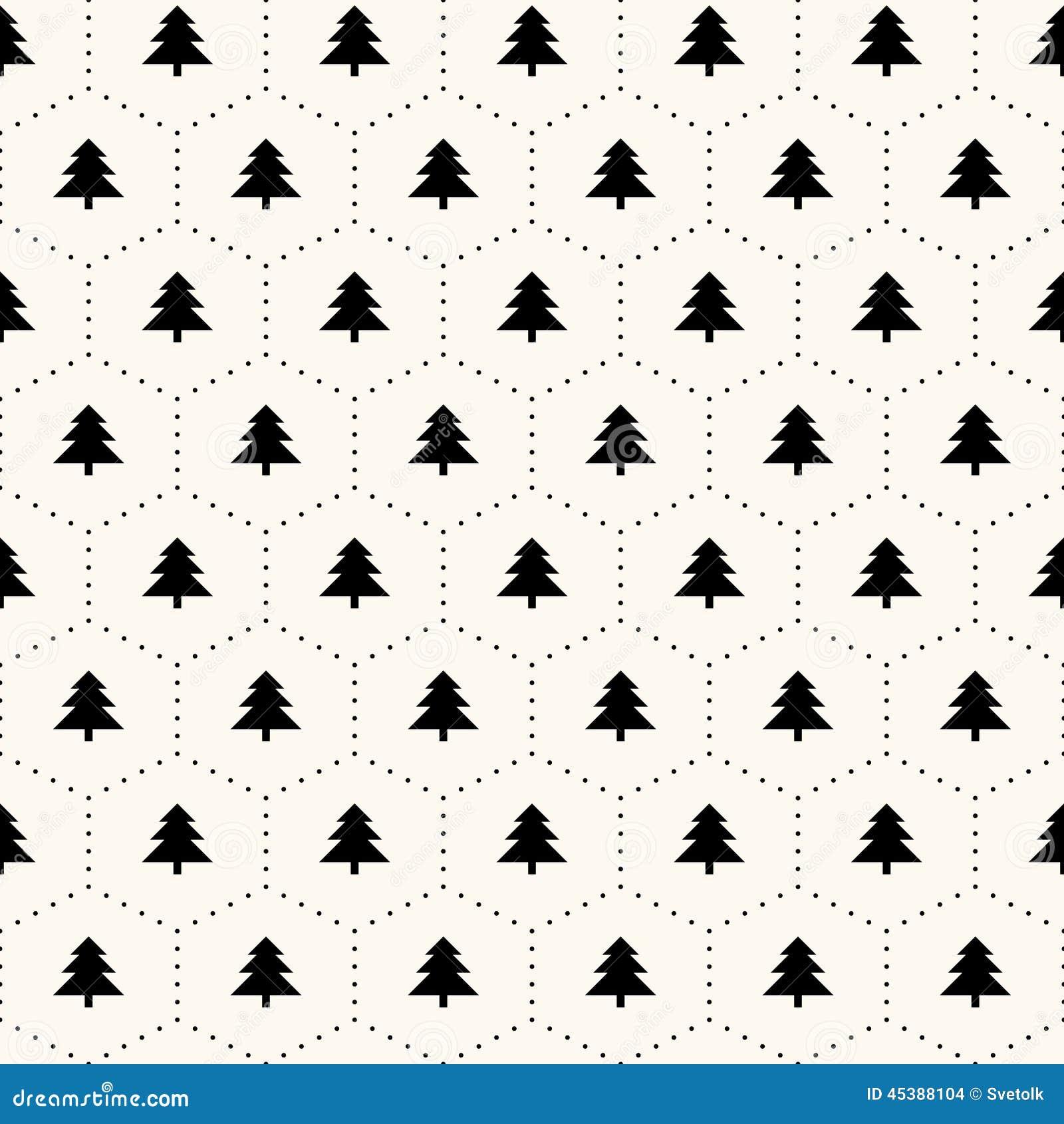 Vector Seamless Retro Pattern Christmas Trees