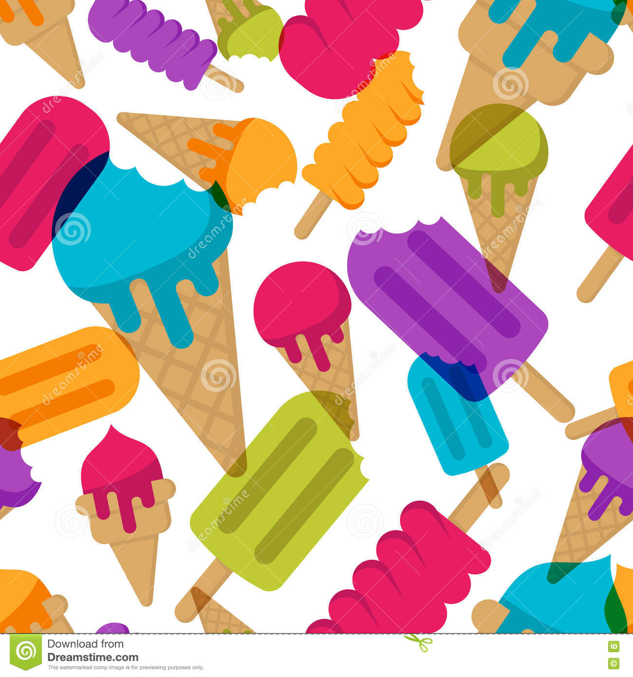 Seamless Ice Cream Background: Vector Seamless Summer Pattern With Multicolor Ice Cream
