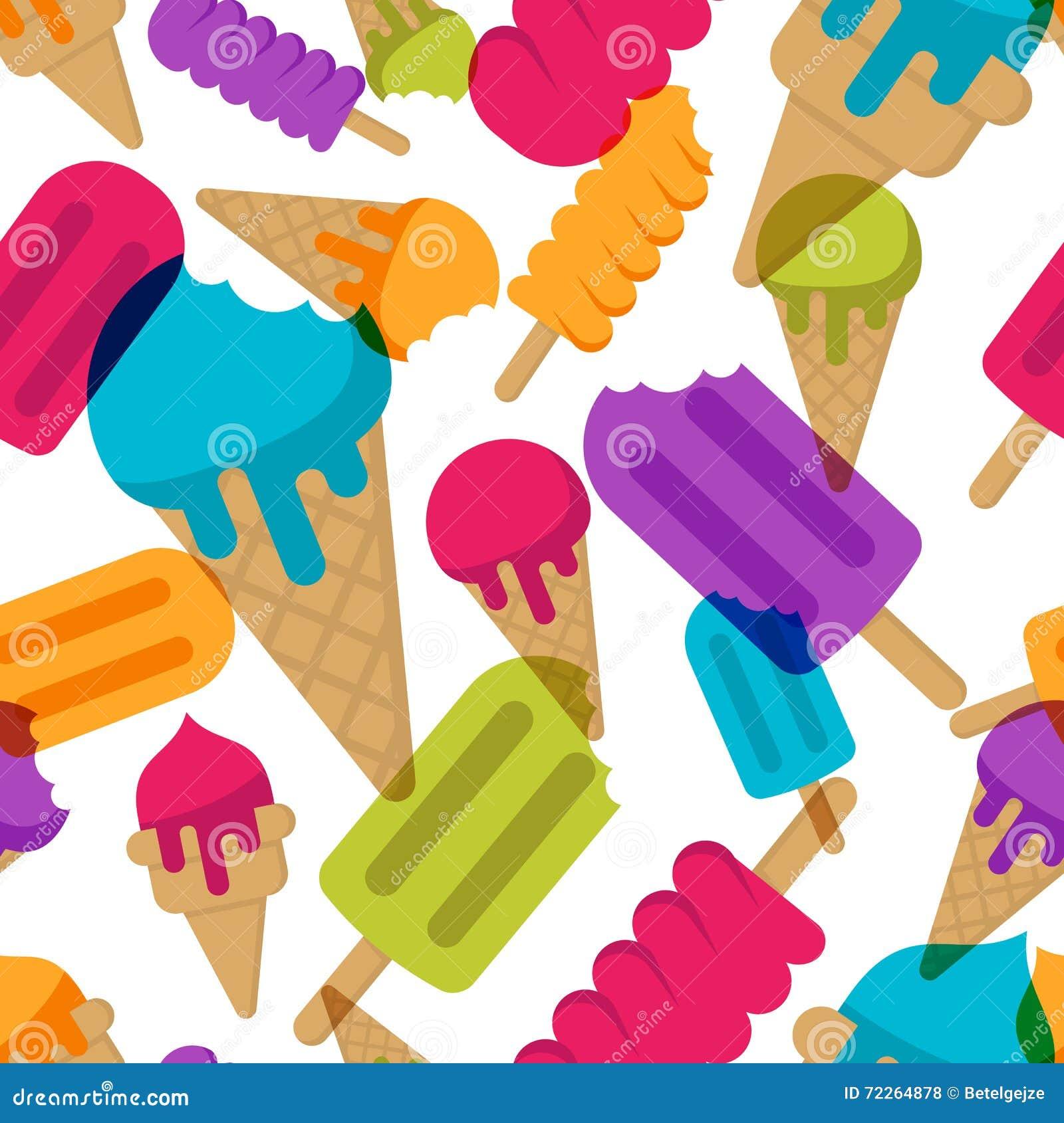 Summer Ice Cream Wallpaper: Vector Seamless Summer Pattern With Multicolor Ice Cream