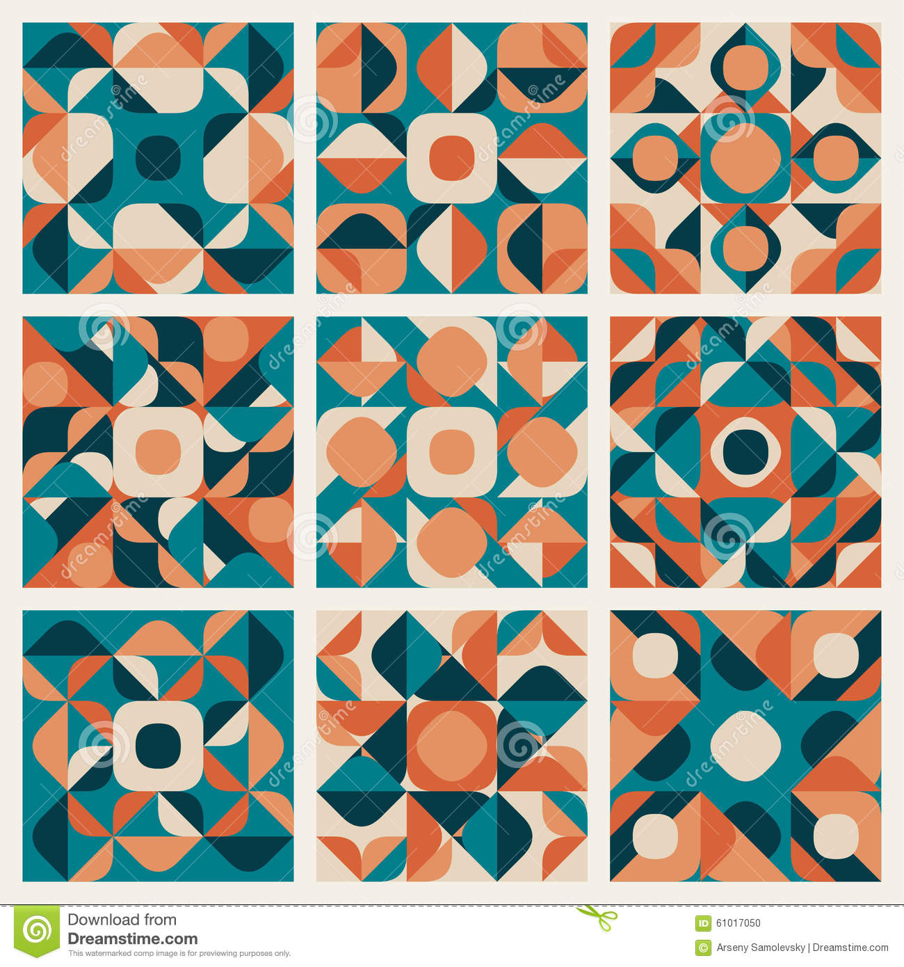 Vector Seamless Teal Orange Retro Geometric Ethnic Pattern ...