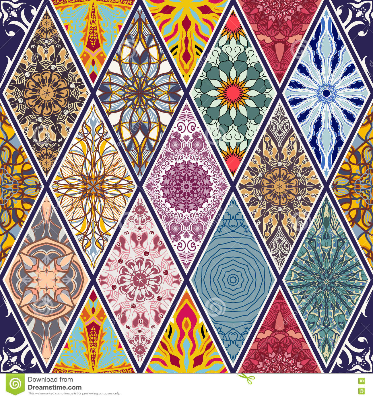 Vector seamless texture. Beautiful mega patchwork mosaic pattern for design and fashion with decorative elements in rhombus