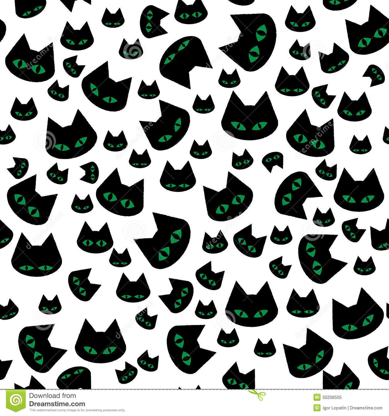 Vector Seamless Texture With Black Cats Stock Vector ...