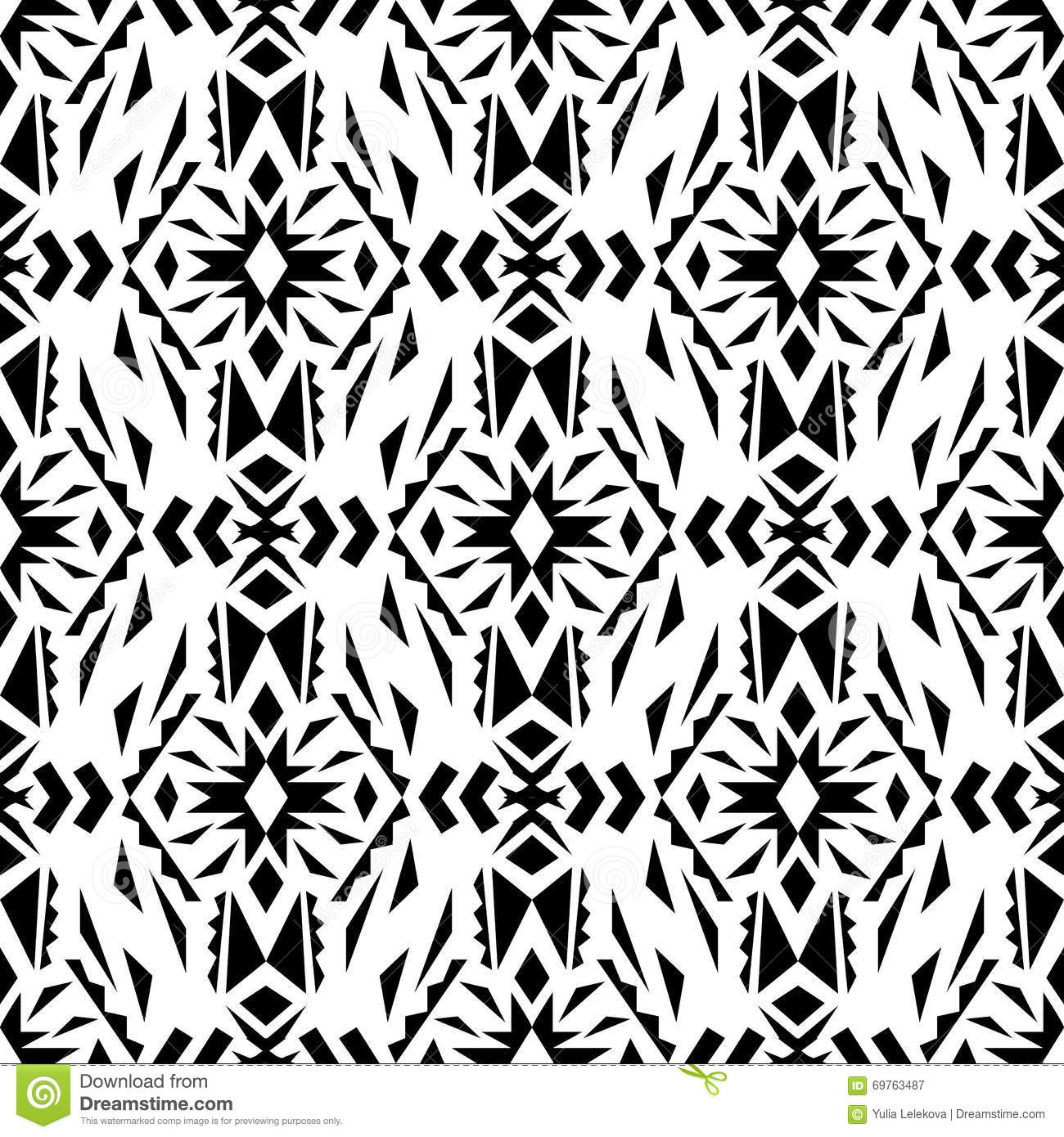 vector seamless texture black and white tribal geometric